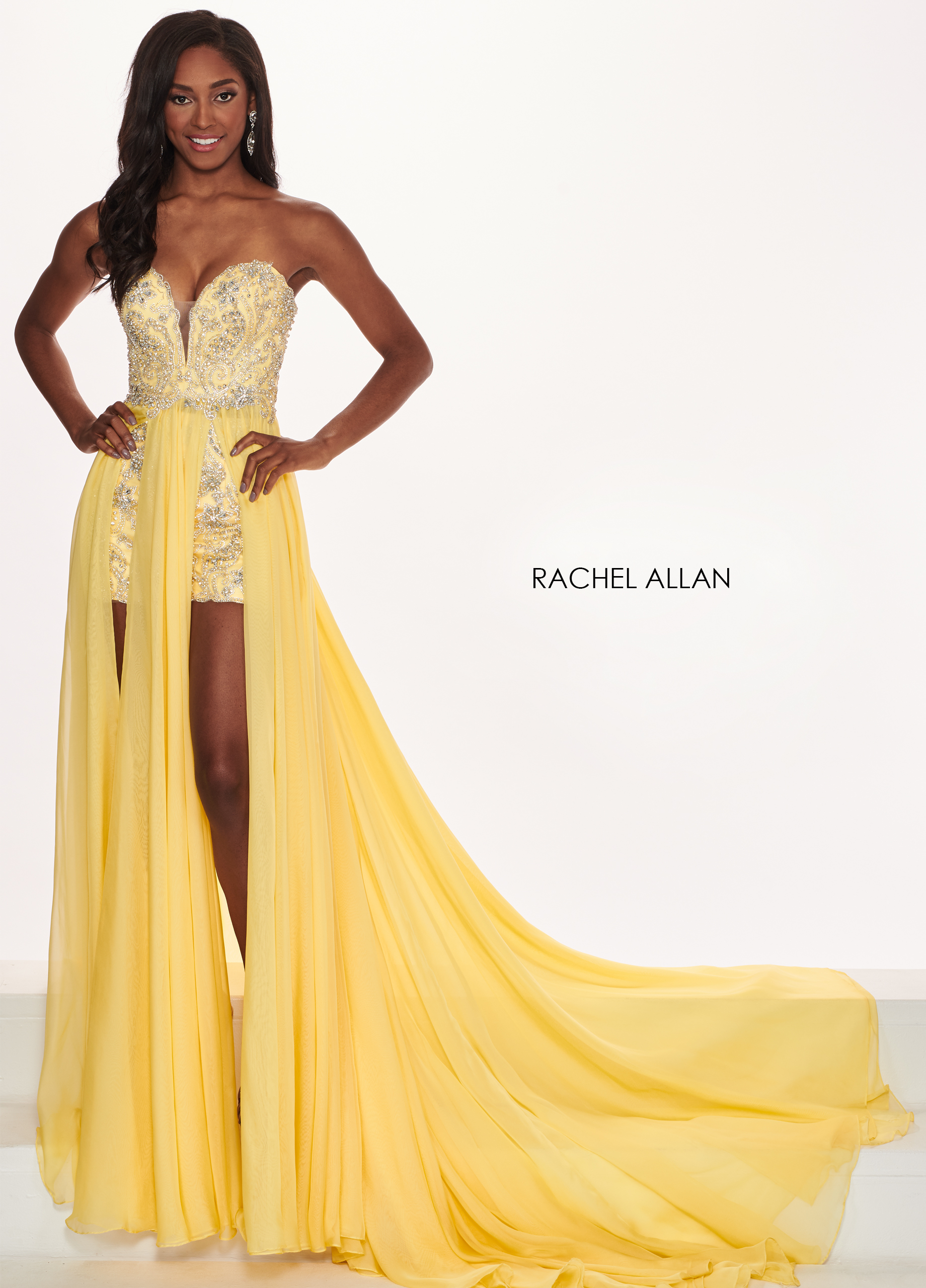 Sweetheart Skirt With Overlay Pageant Dresses in Yellow Color