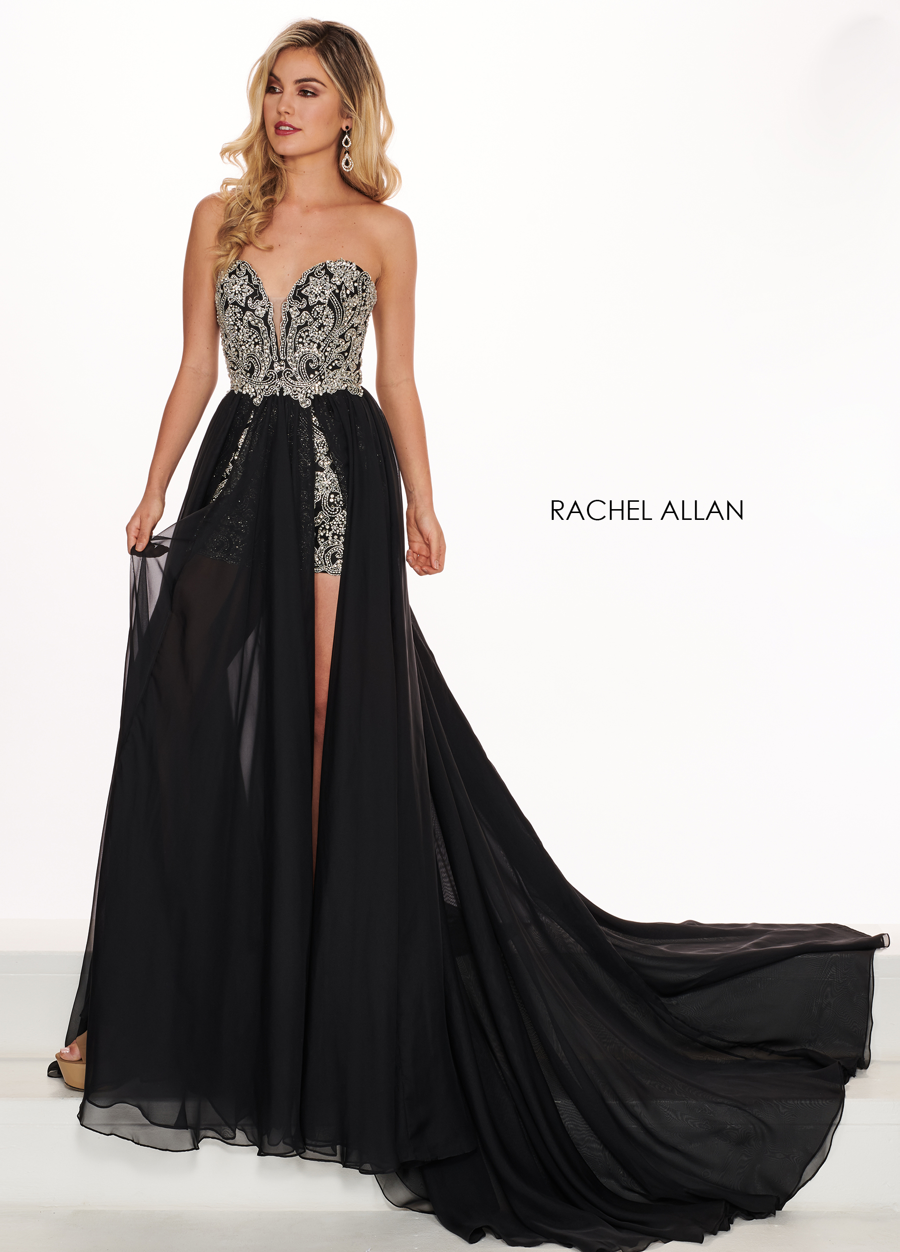 Sweetheart Skirt With Overlay Pageant Dresses in Black Color