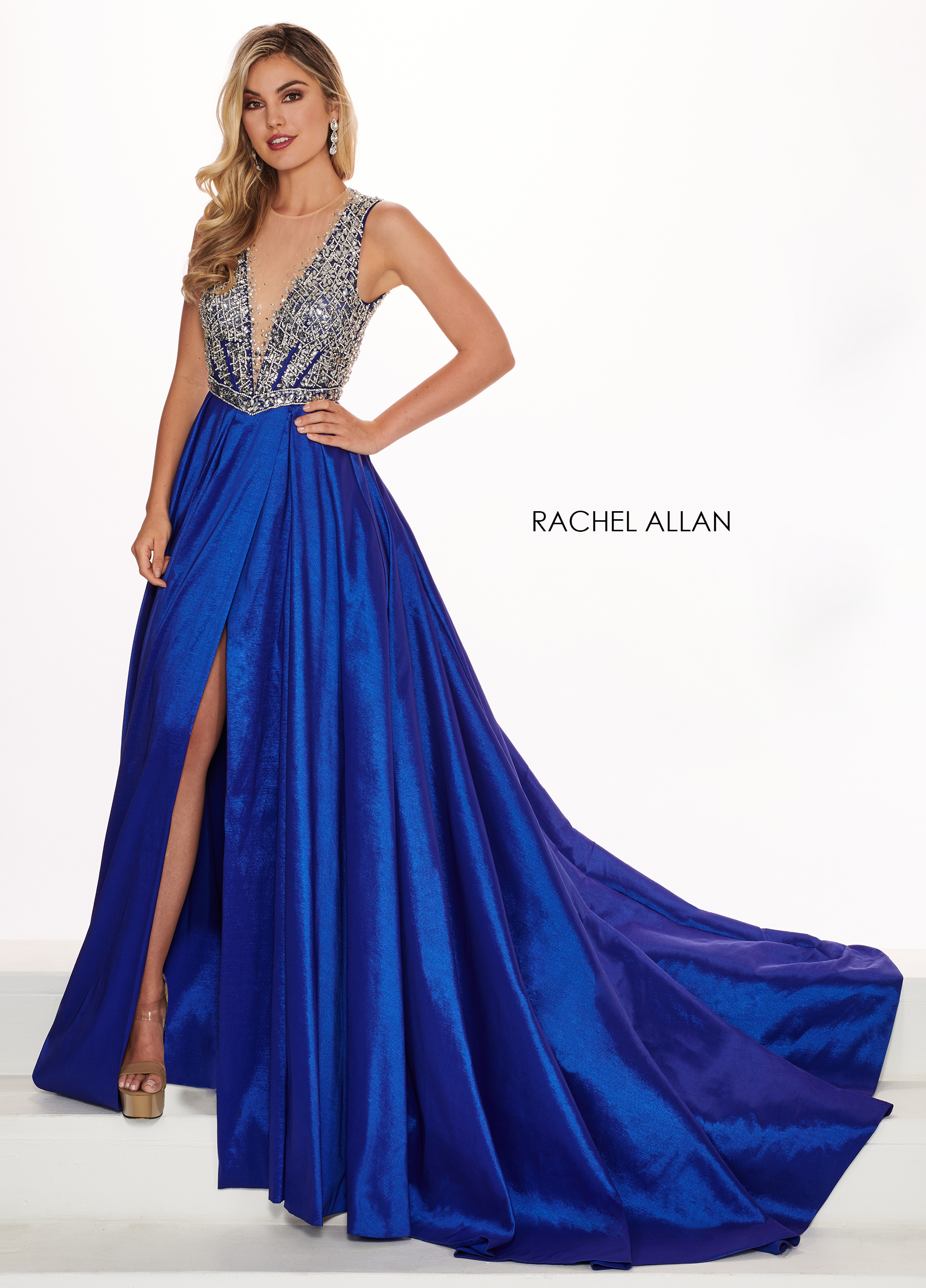 V-Neck A-Line Pageant Dresses in Blue Color