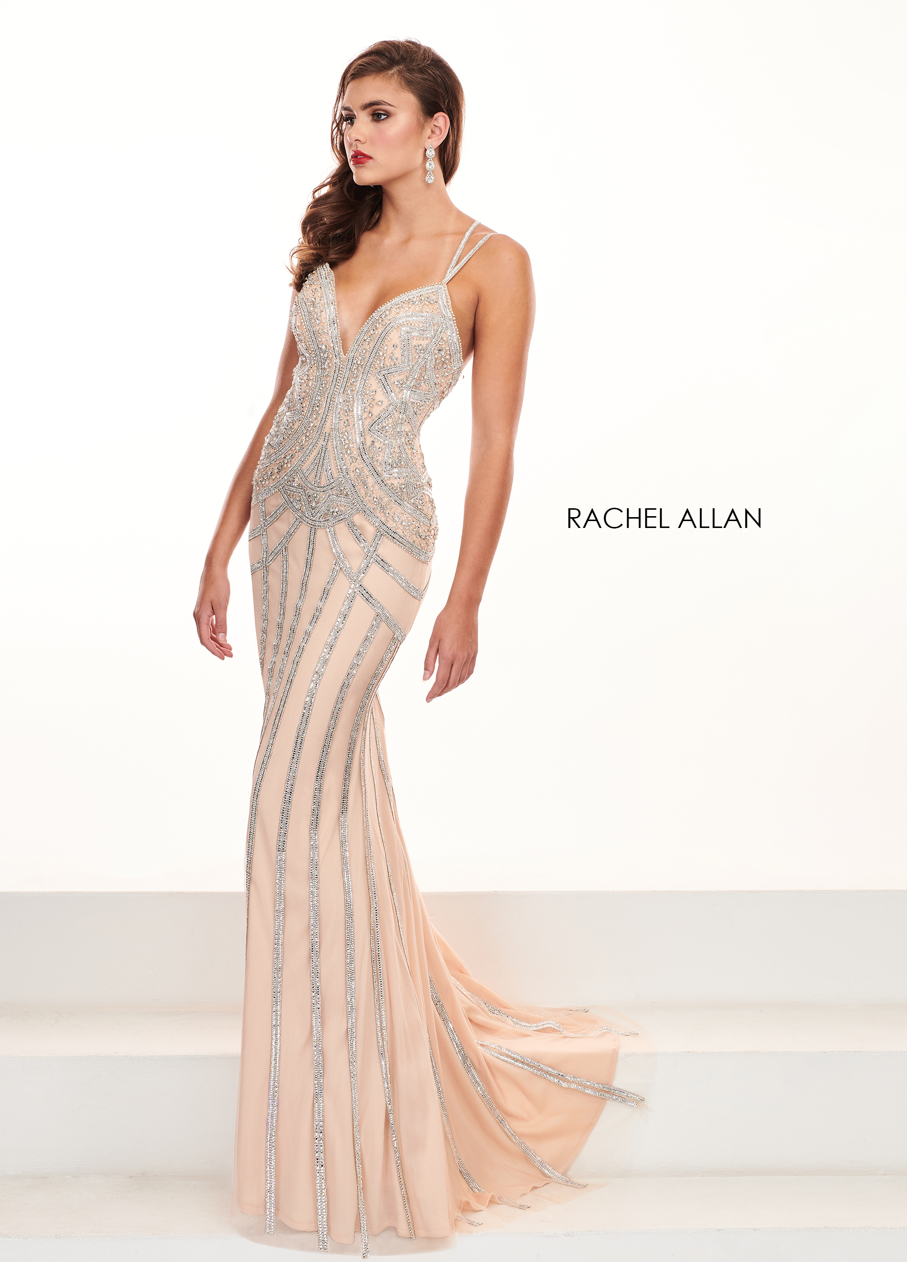Strappy Fitted Long Pageant Dresses in Metallics Color