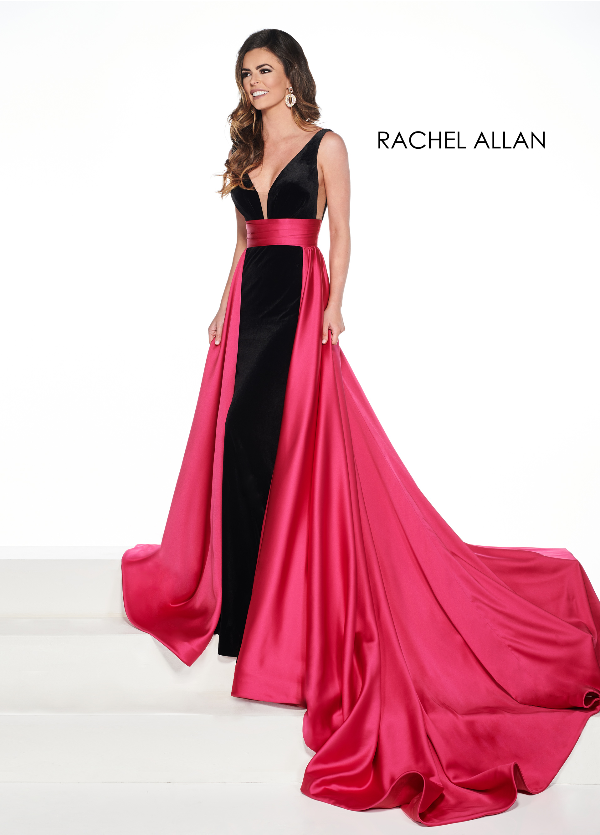 V-Neck Skirt With Overlay Pageant Dresses in Fuchsia Color
