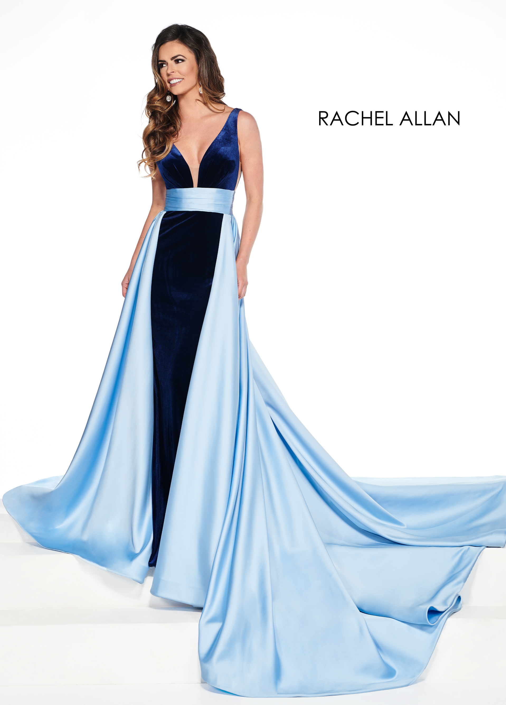V-Neck Skirt With Overlay Pageant Dresses in Blue Color