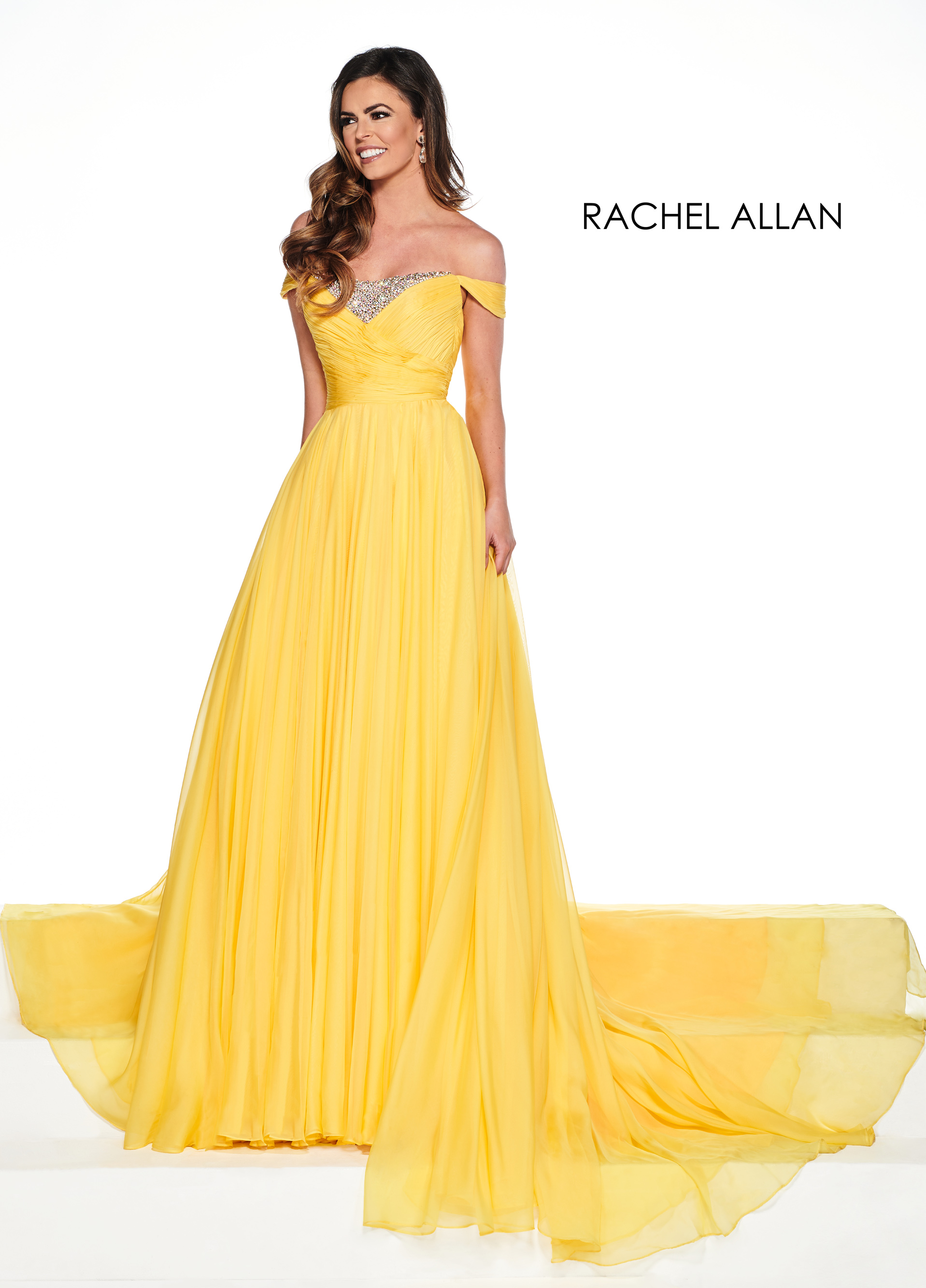 Off The Shoulder A-Line Pageant Dresses in Yellow Color