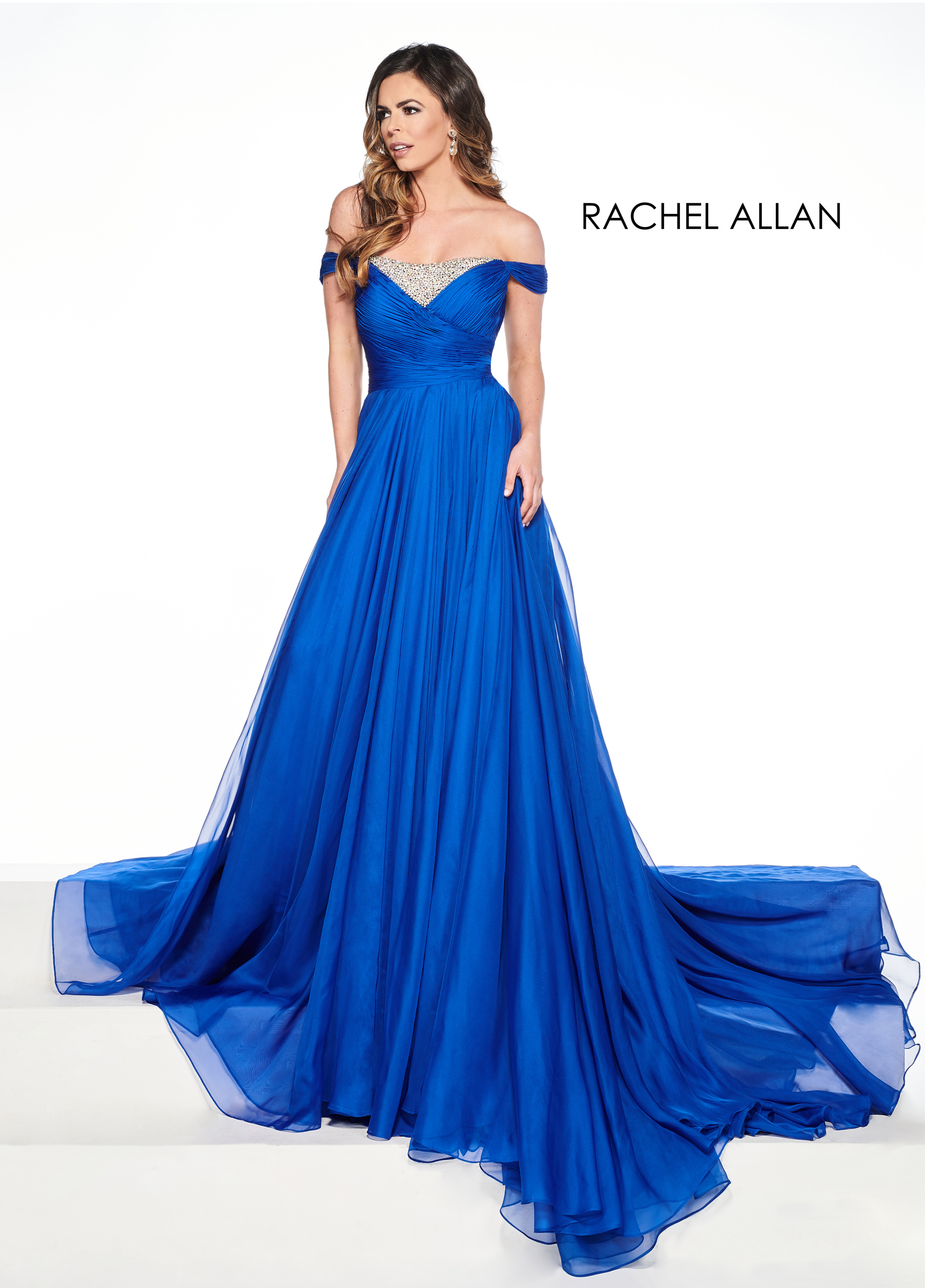 Off The Shoulder A-Line Pageant Dresses in Royal Color