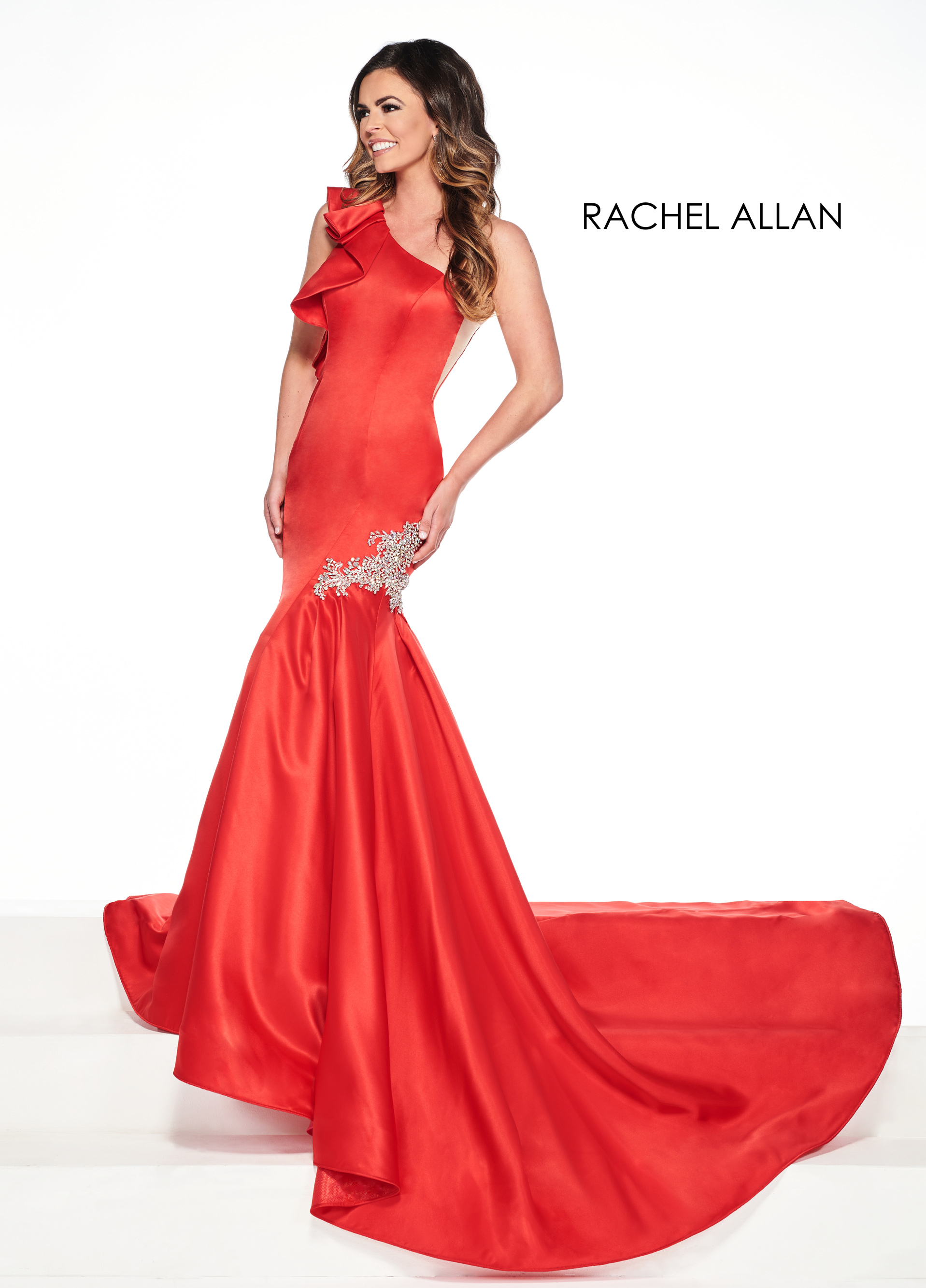 One Shoulder Mermaid Pageant Dresses in Red Color