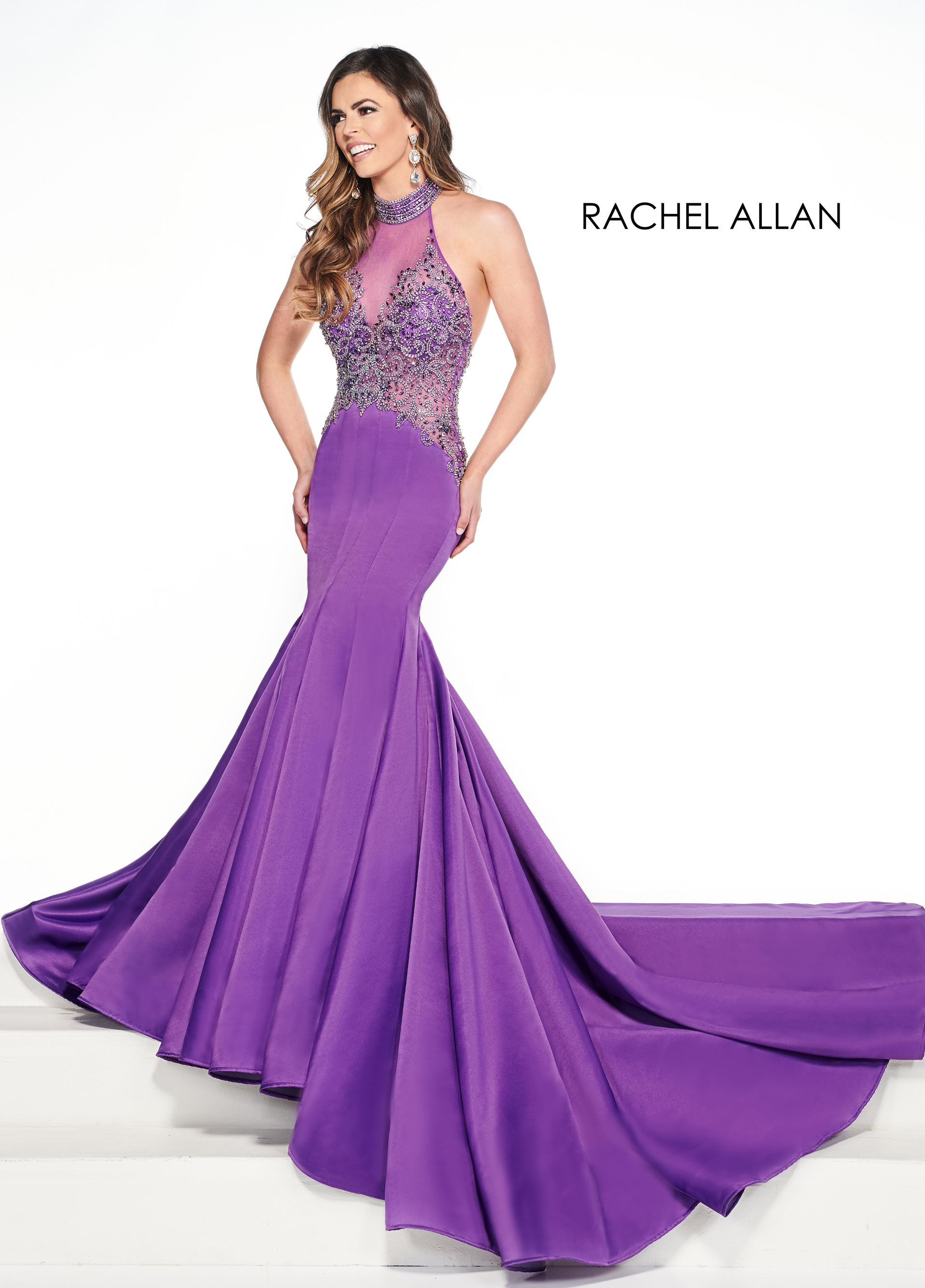 Halter Mermaid Pageant Dresses in Purple Color