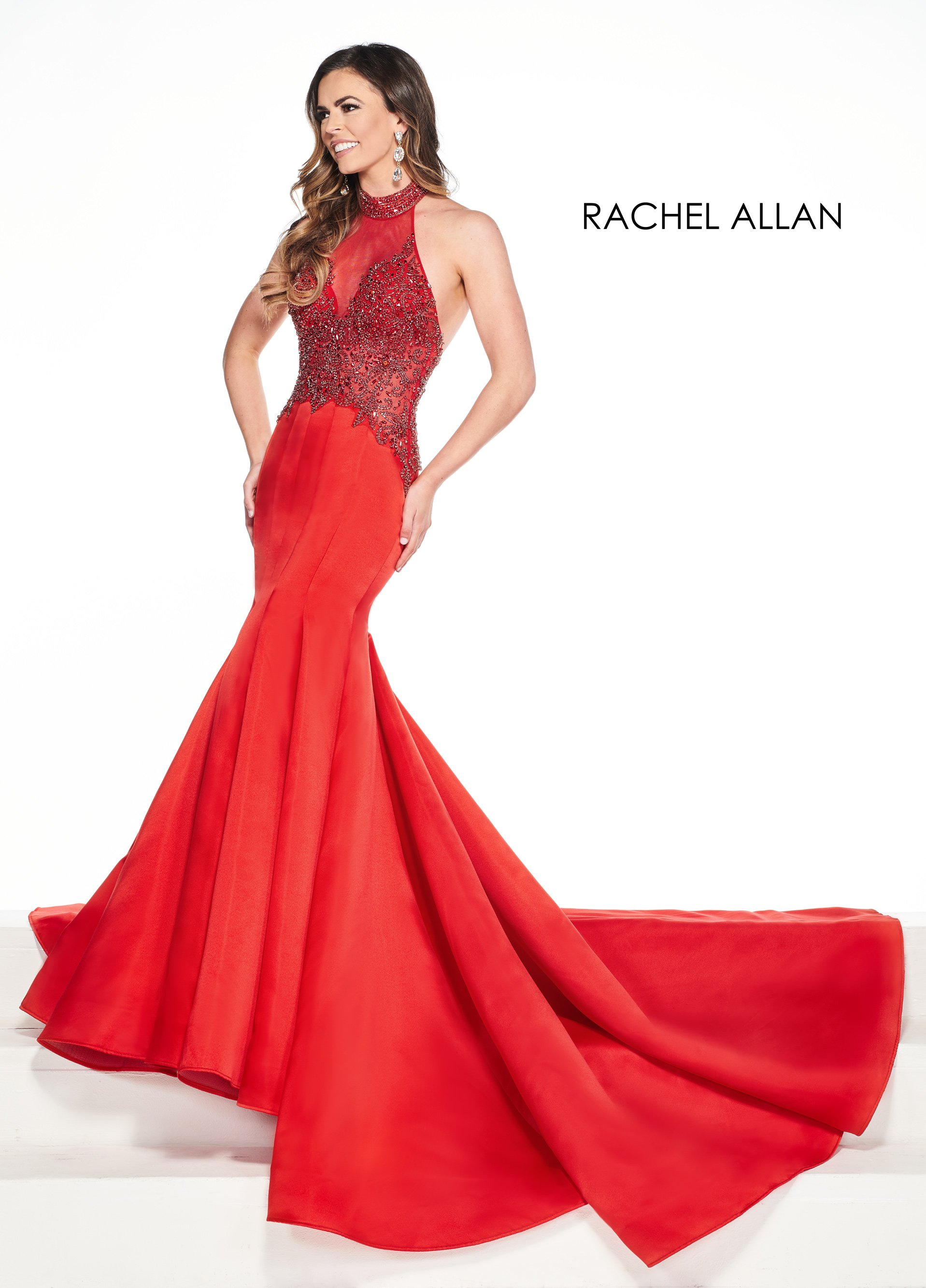 Halter Mermaid Pageant Dresses in Red Color