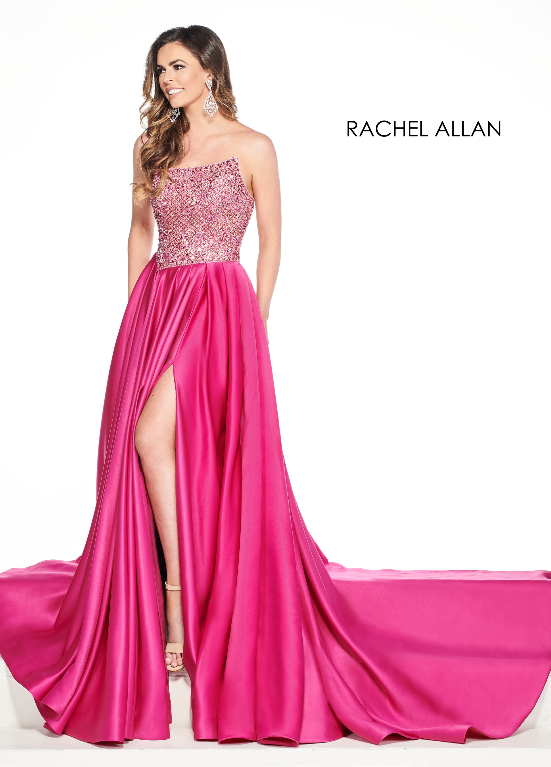 Strapless A-Line Pageant Dresses in Magenta Color
