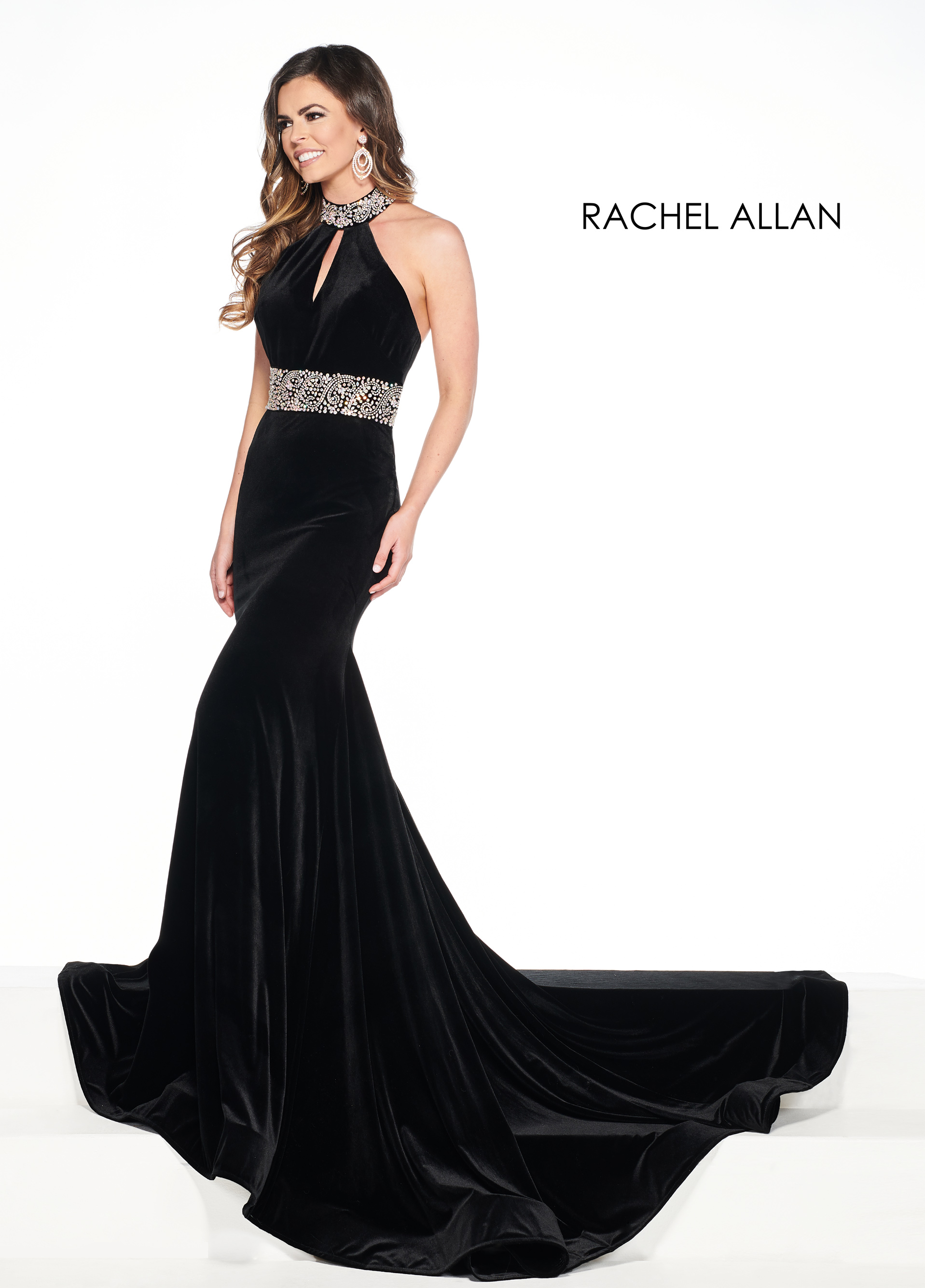 Halter Fit & Flare Pageant Dresses in Black Color