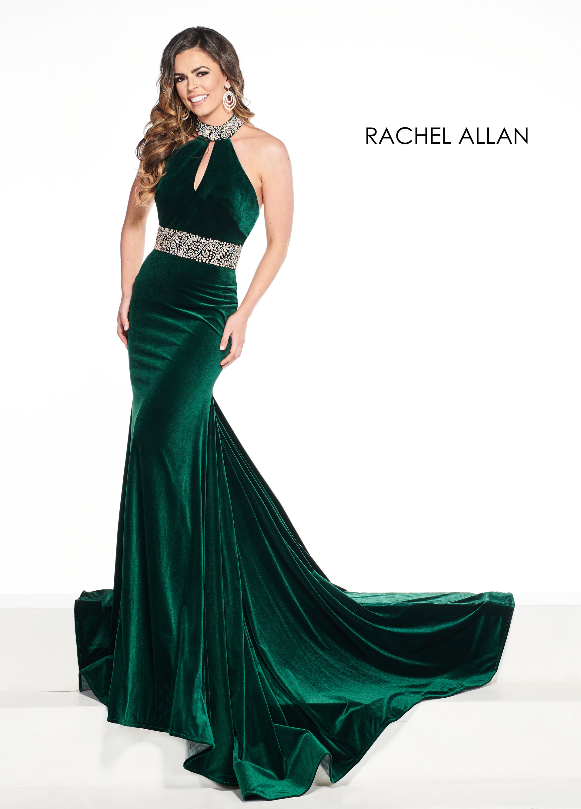 Halter Fit & Flare Pageant Dresses in Green Color