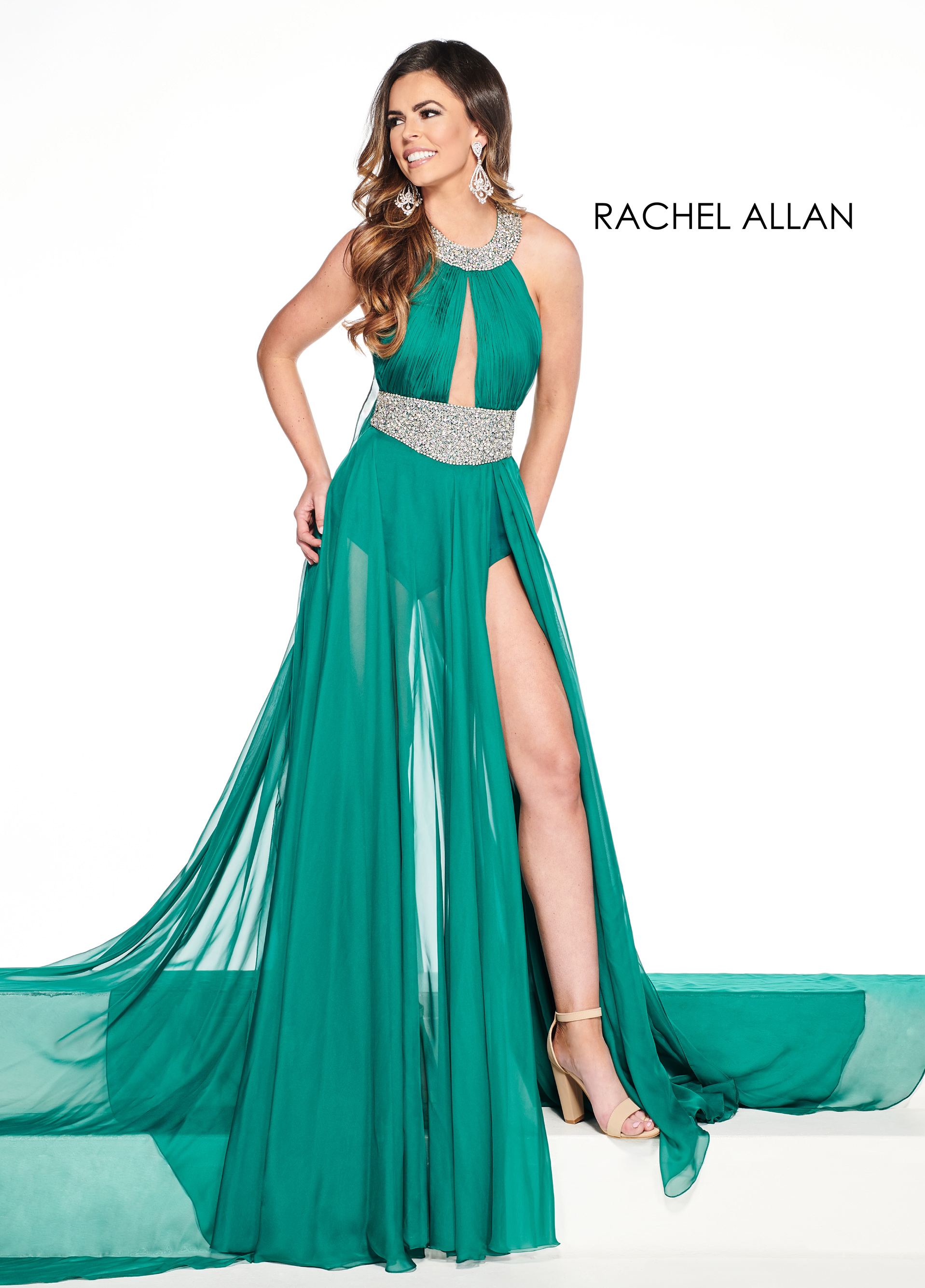 Halter Shorts With Overlay Pageant Dresses in Green Color