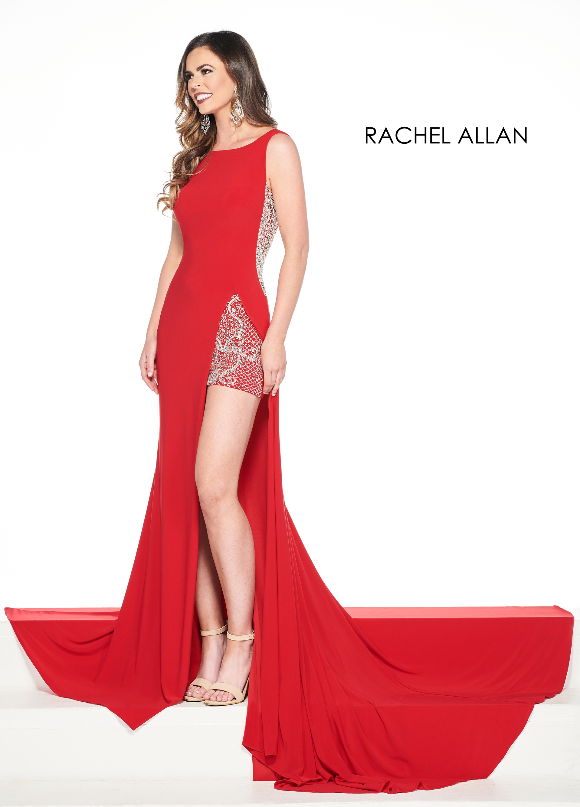 Scoop Neck Shorts With Overlay Pageant Dresses in Red Color