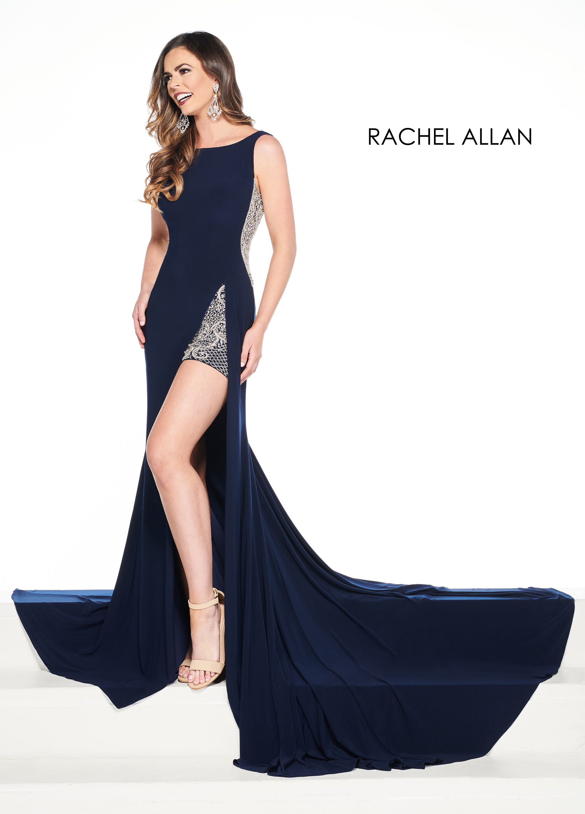 Scoop Neck Shorts With Overlay Pageant Dresses in Navy Color