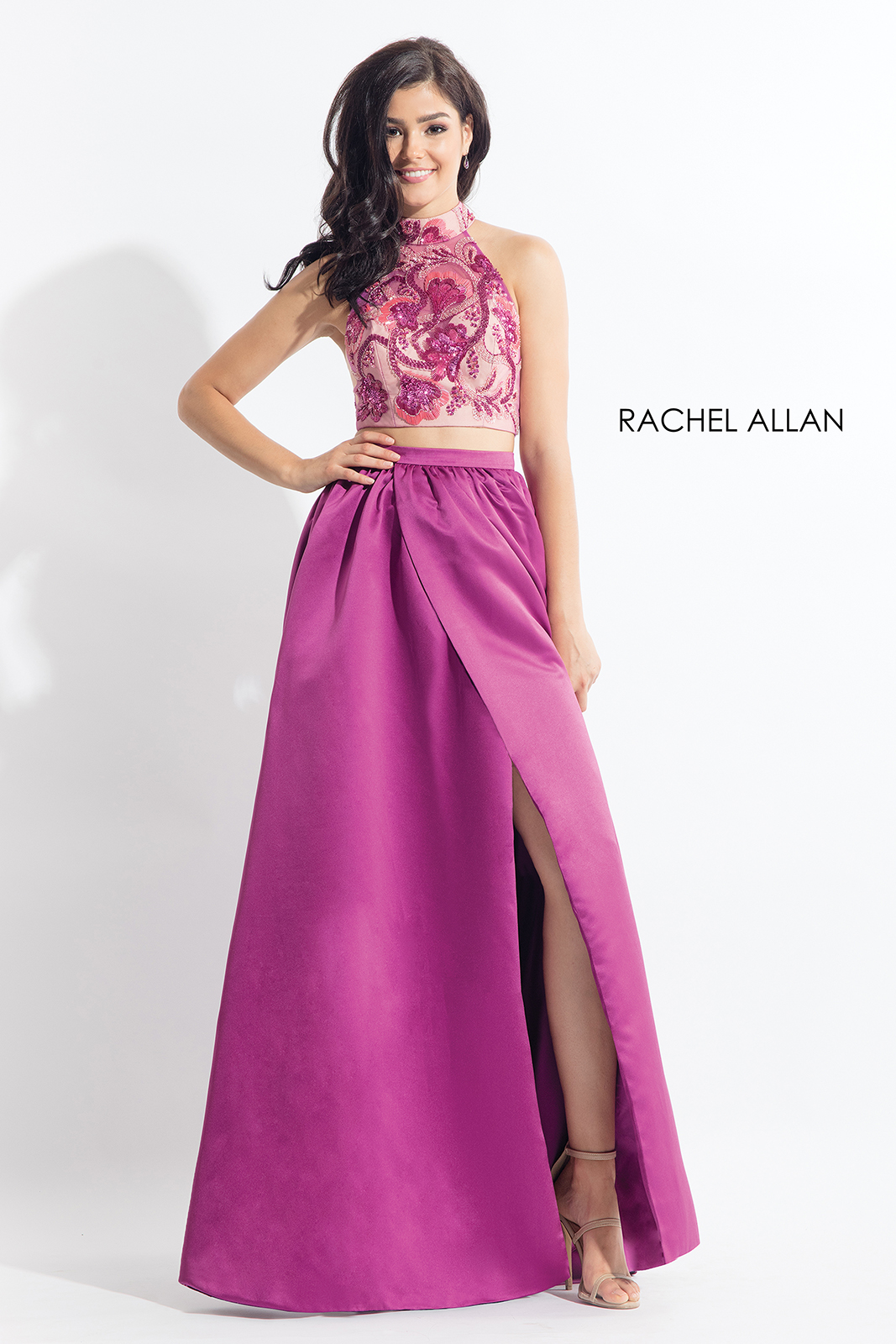 High Neckline Two-Piece Prom Dresses in Pink Color