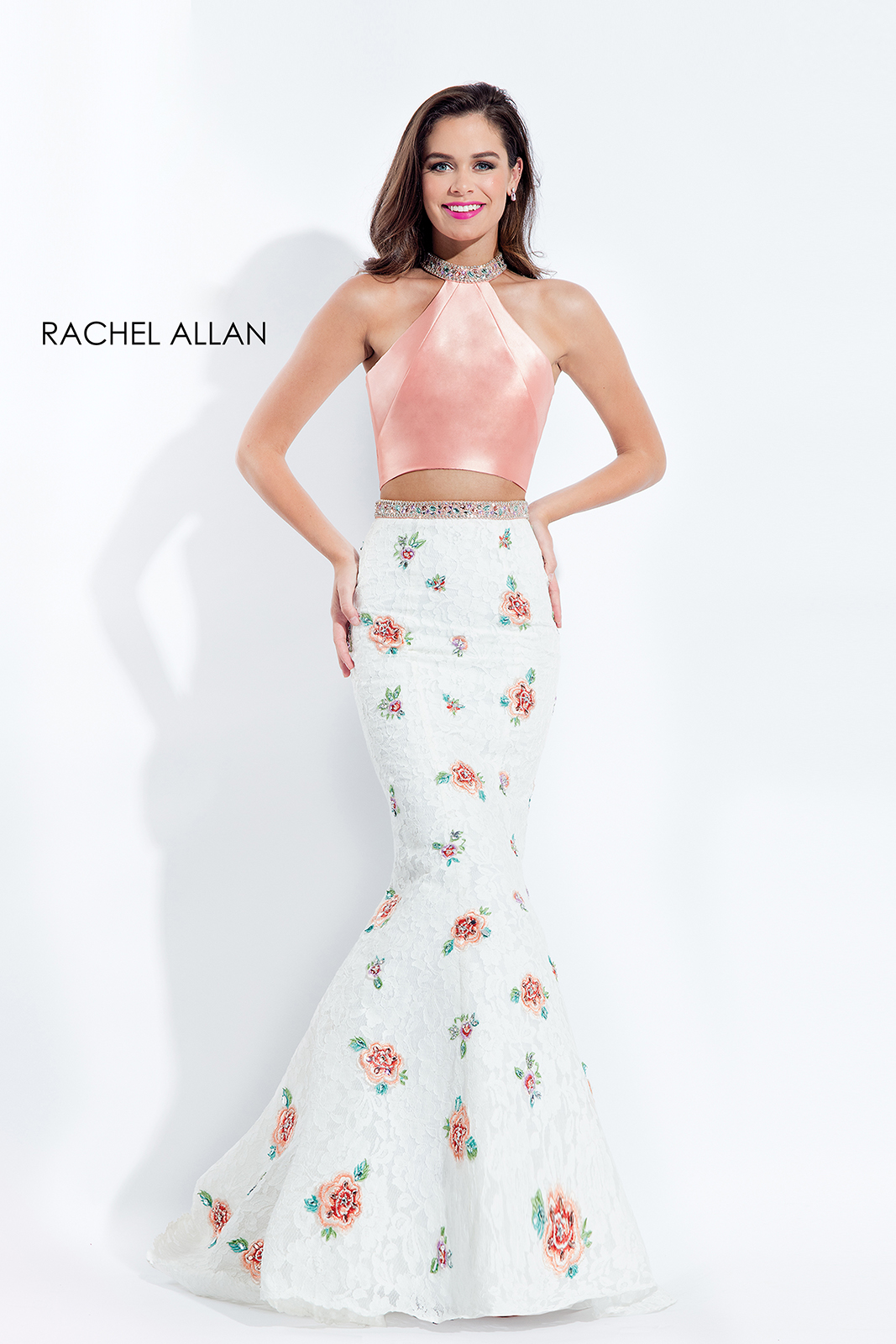 Choker Two-Piece Prom Dresses in Coral Color