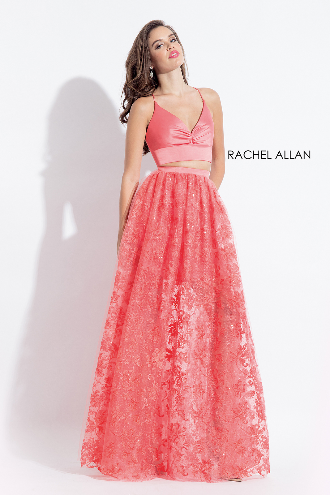 V-Neck Two-Piece Prom Dresses in Coral Color
