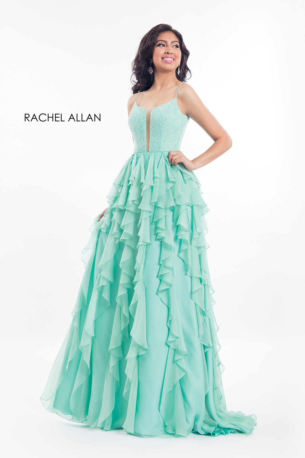 Scoop Neck Fit & Flare Prom Dresses in Mint Color