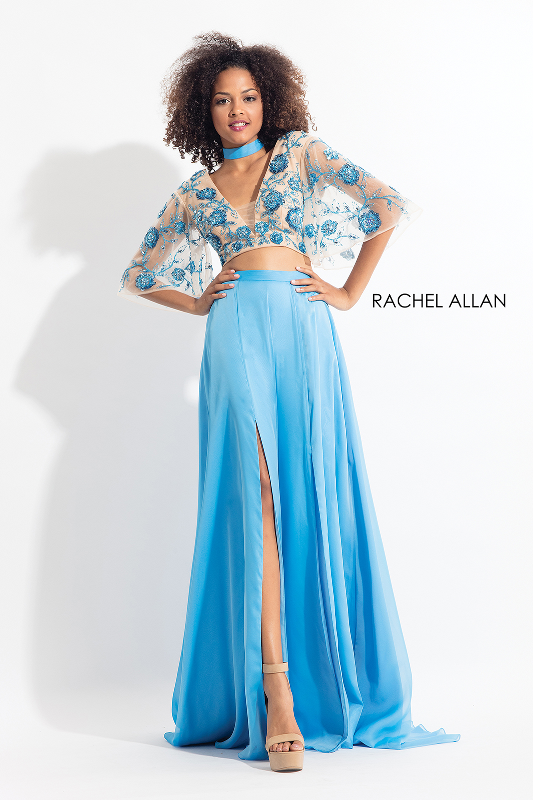 Cut Out Two-Piece Prom Dresses in Aqua Color