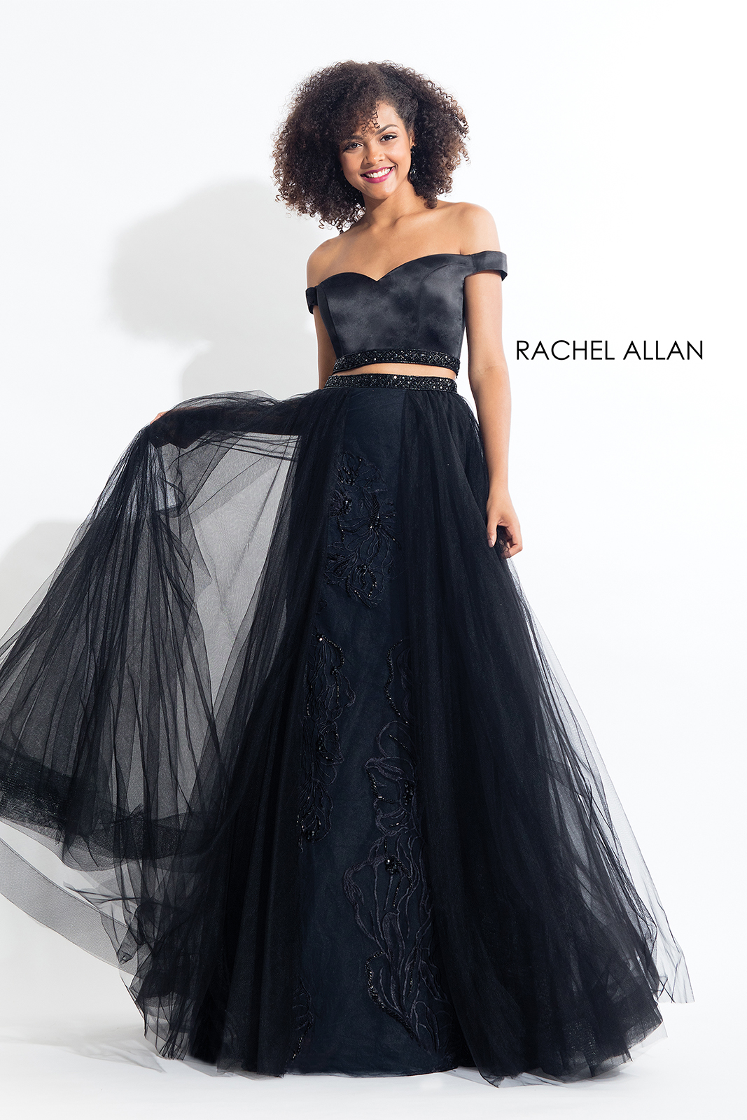 Off The Shoulder Skirt With Overlay Prom Dresses in Black Color