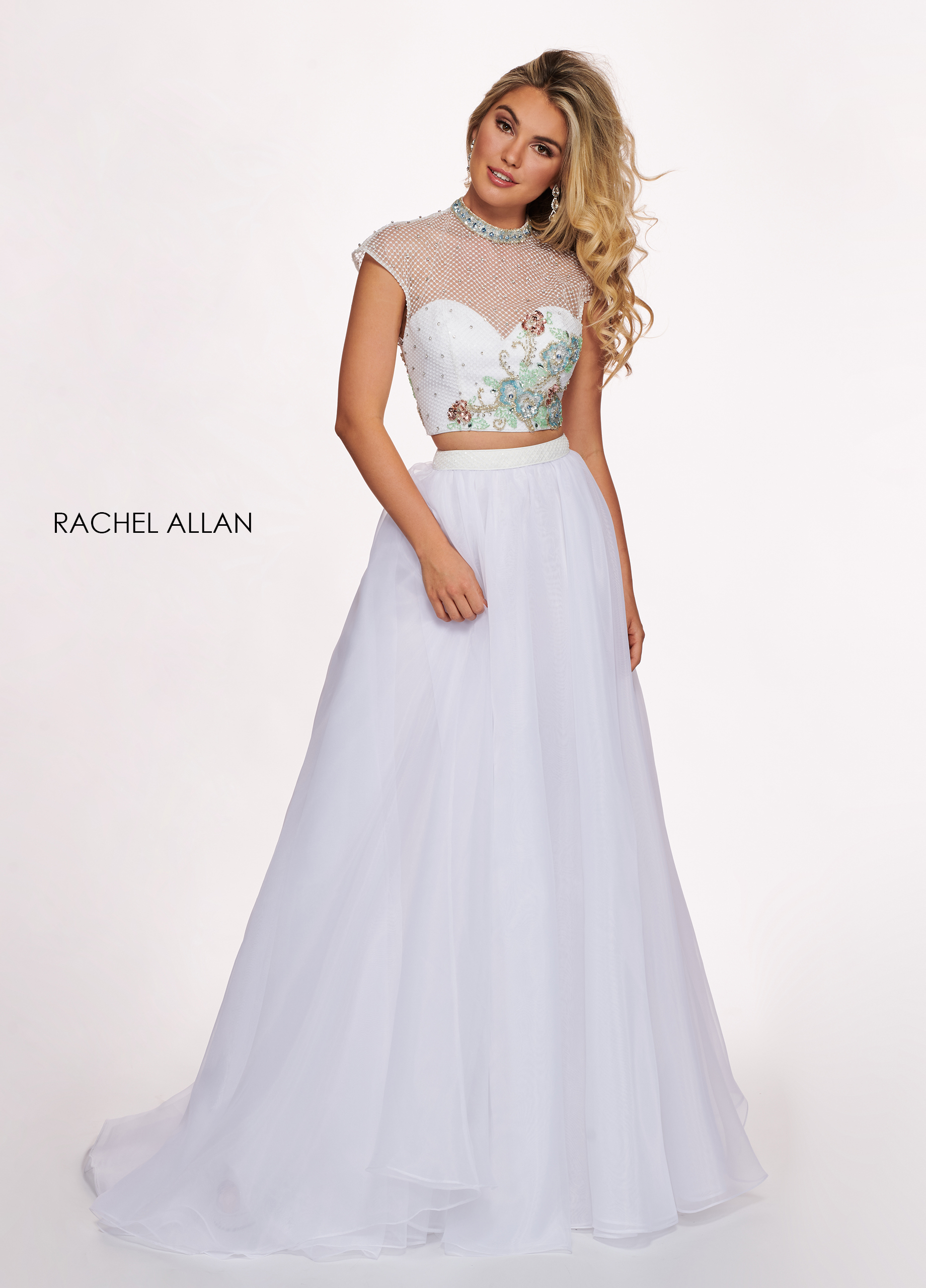 High Neckline A-Line Prom Dresses in White Color