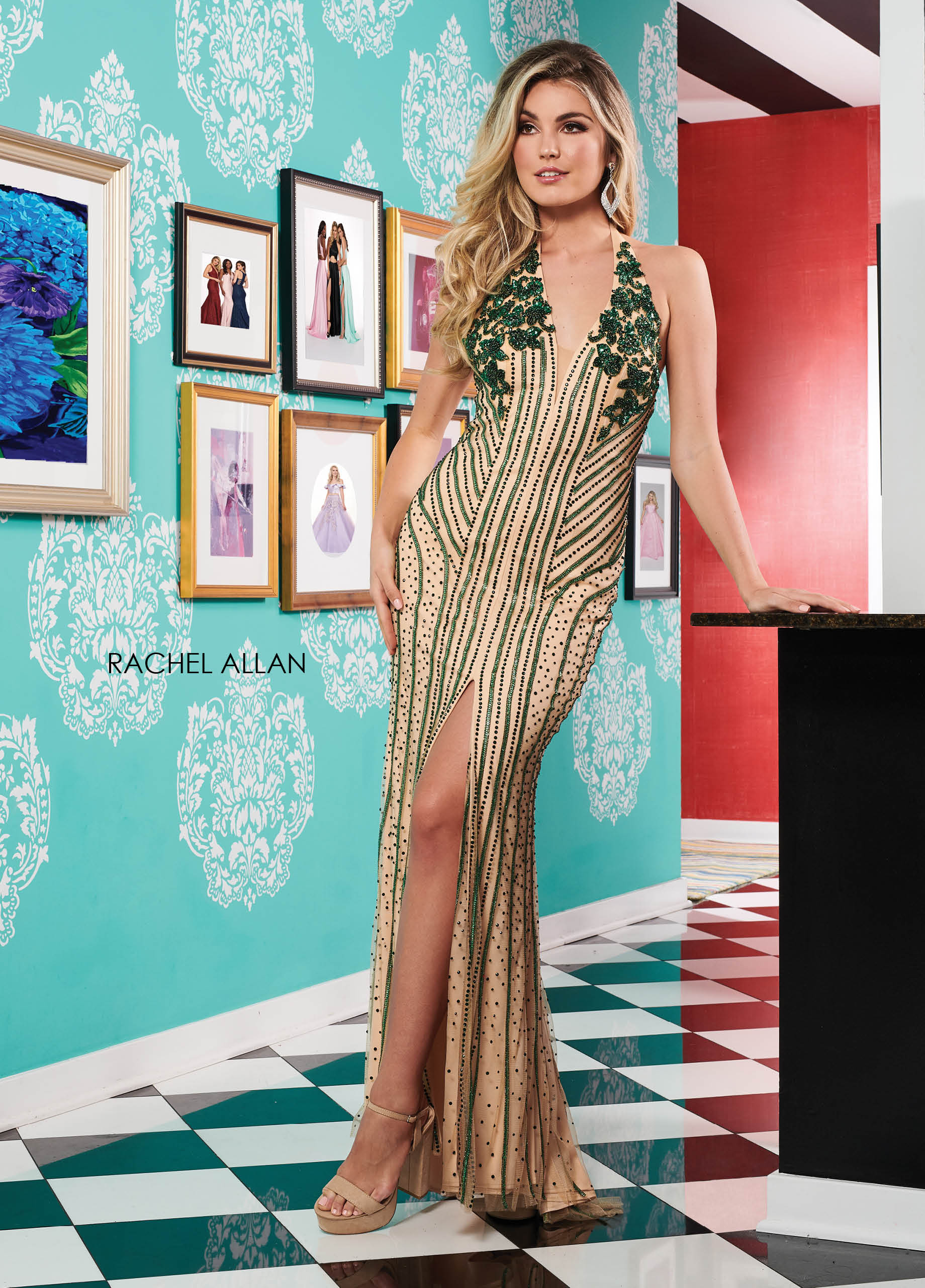 Halter Fitted Long Prom Dresses in Emerald Color