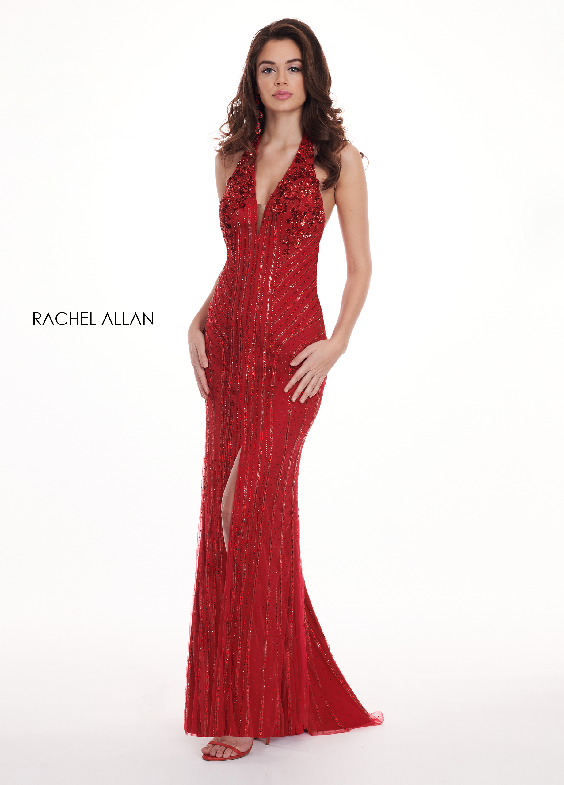 Halter Fitted Long Prom Dresses in Red Color