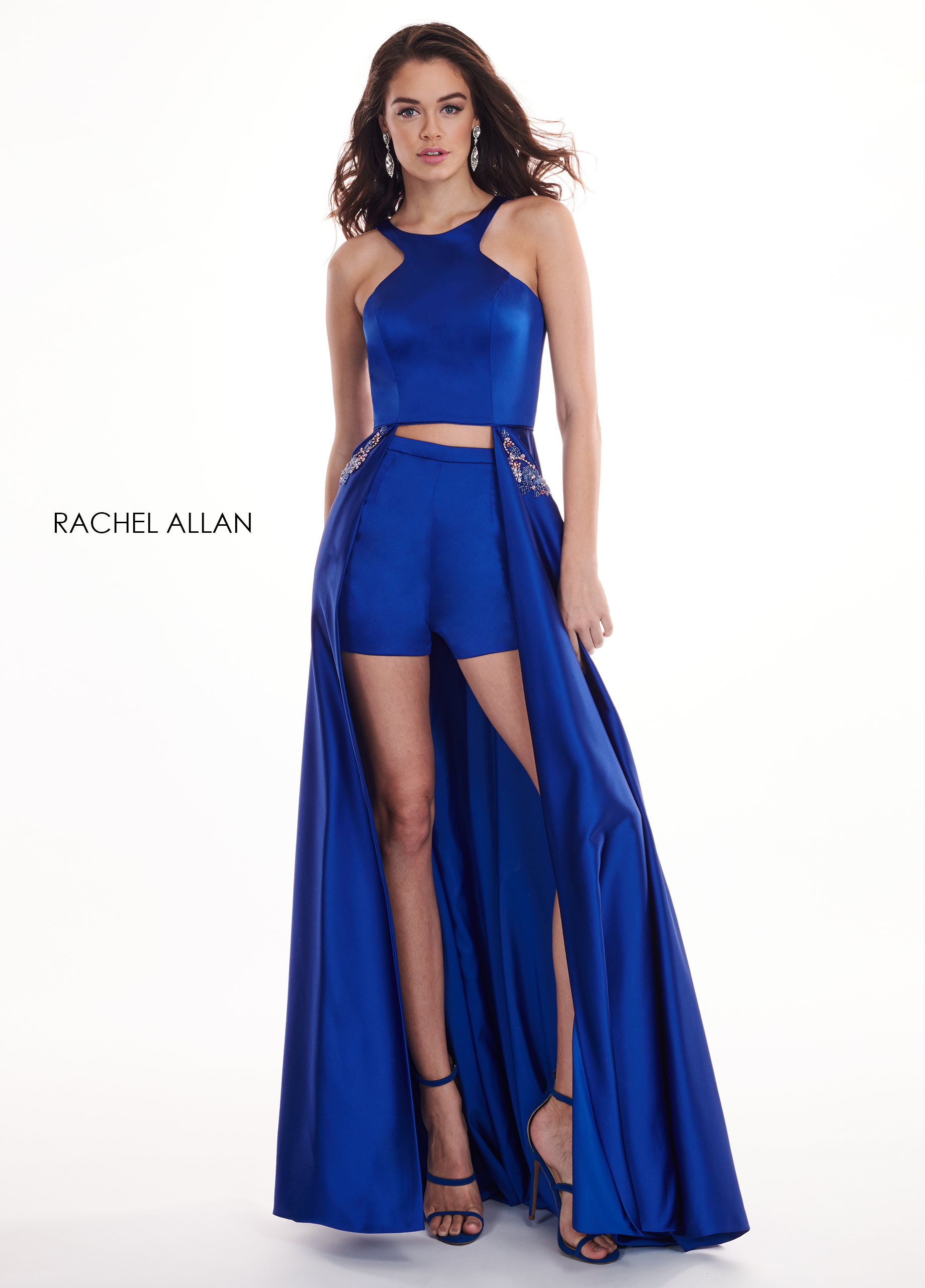 High Neckline Shorts With Overlay Prom Dresses in Royal Color