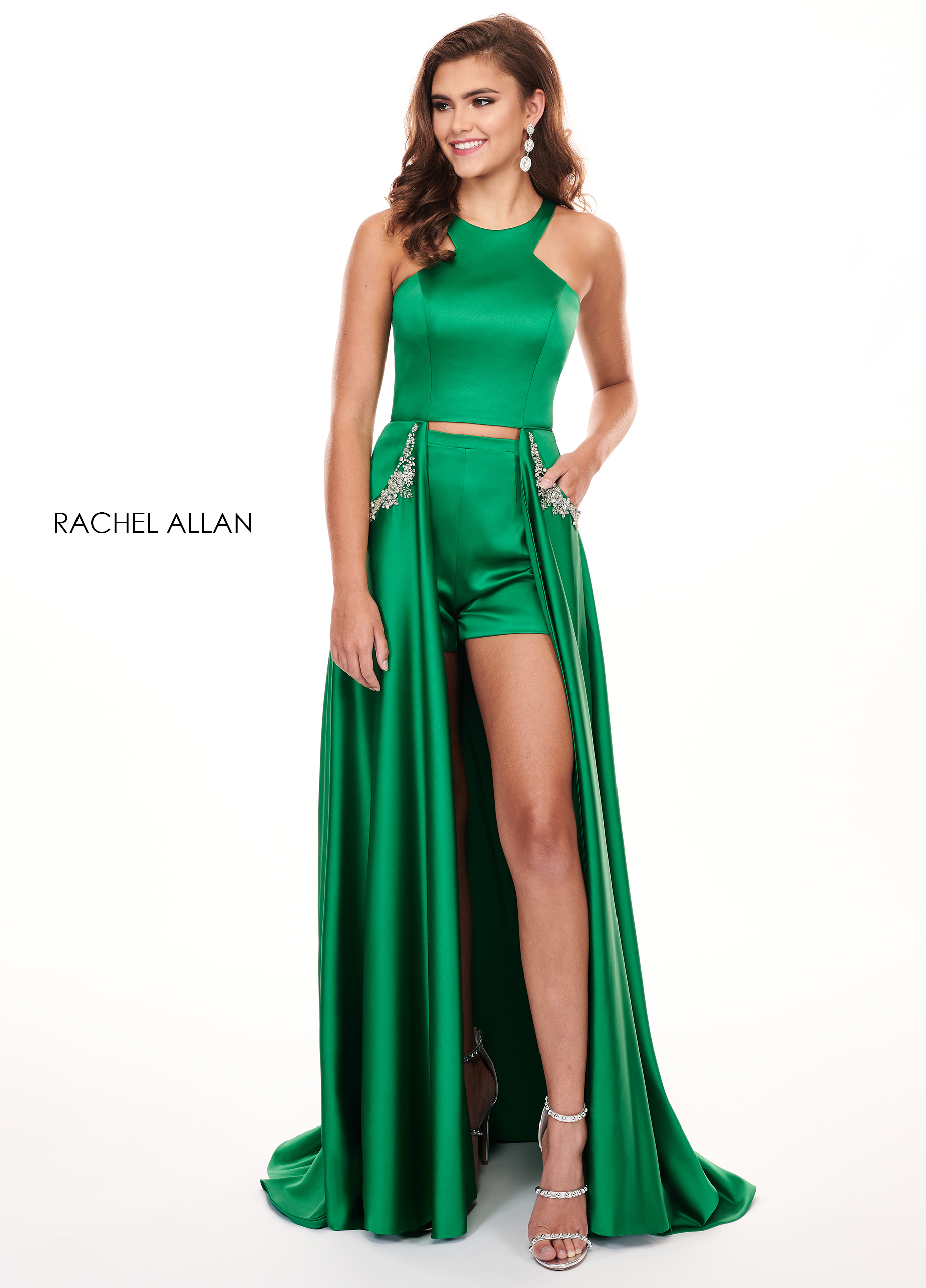 High Neckline Shorts With Overlay BEST SELLERS in Emerald Color