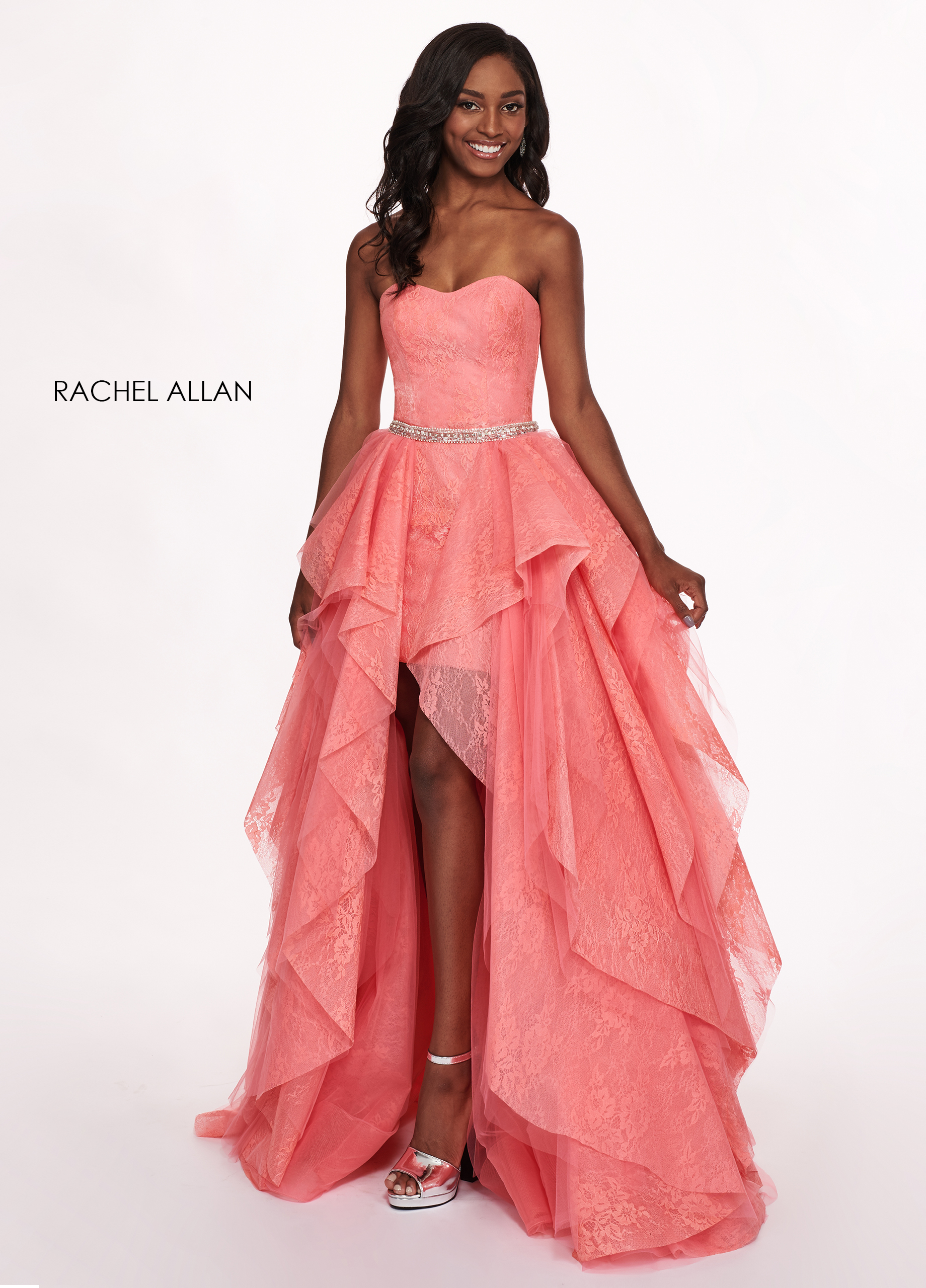 Sweetheart Skirt With Overlay Prom Dresses in Coral Color