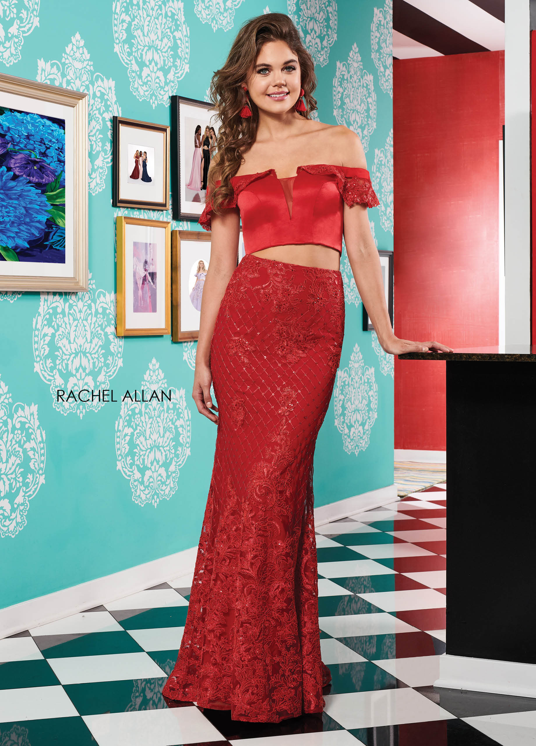 Off The Shoulder Fit & Flare Prom Dresses in Red Color