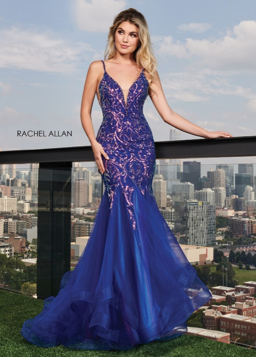 V-Neck Mermaid Prom Dresses in Royal Color