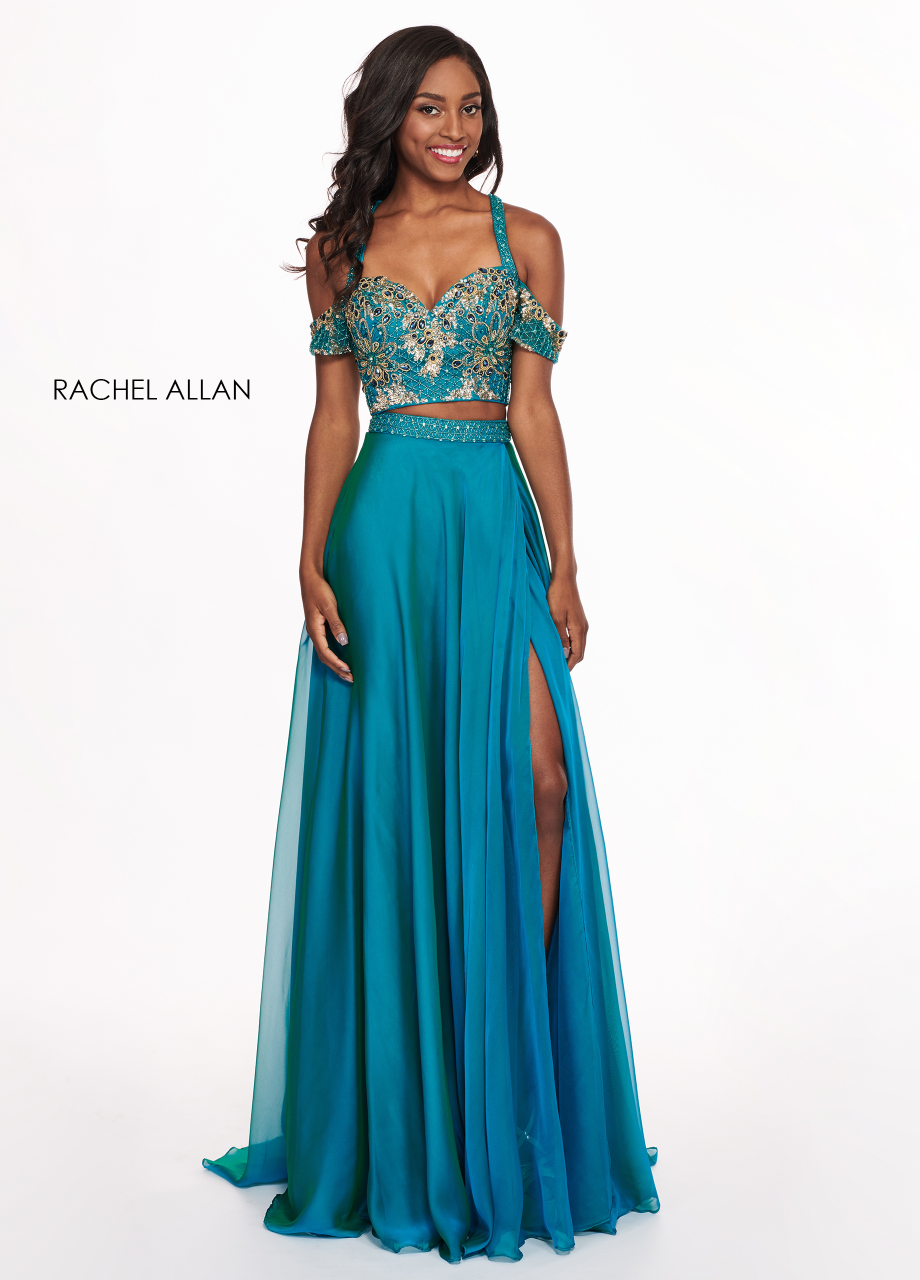 Open Shoulder A-Line Prom Dresses in Turquoise Color