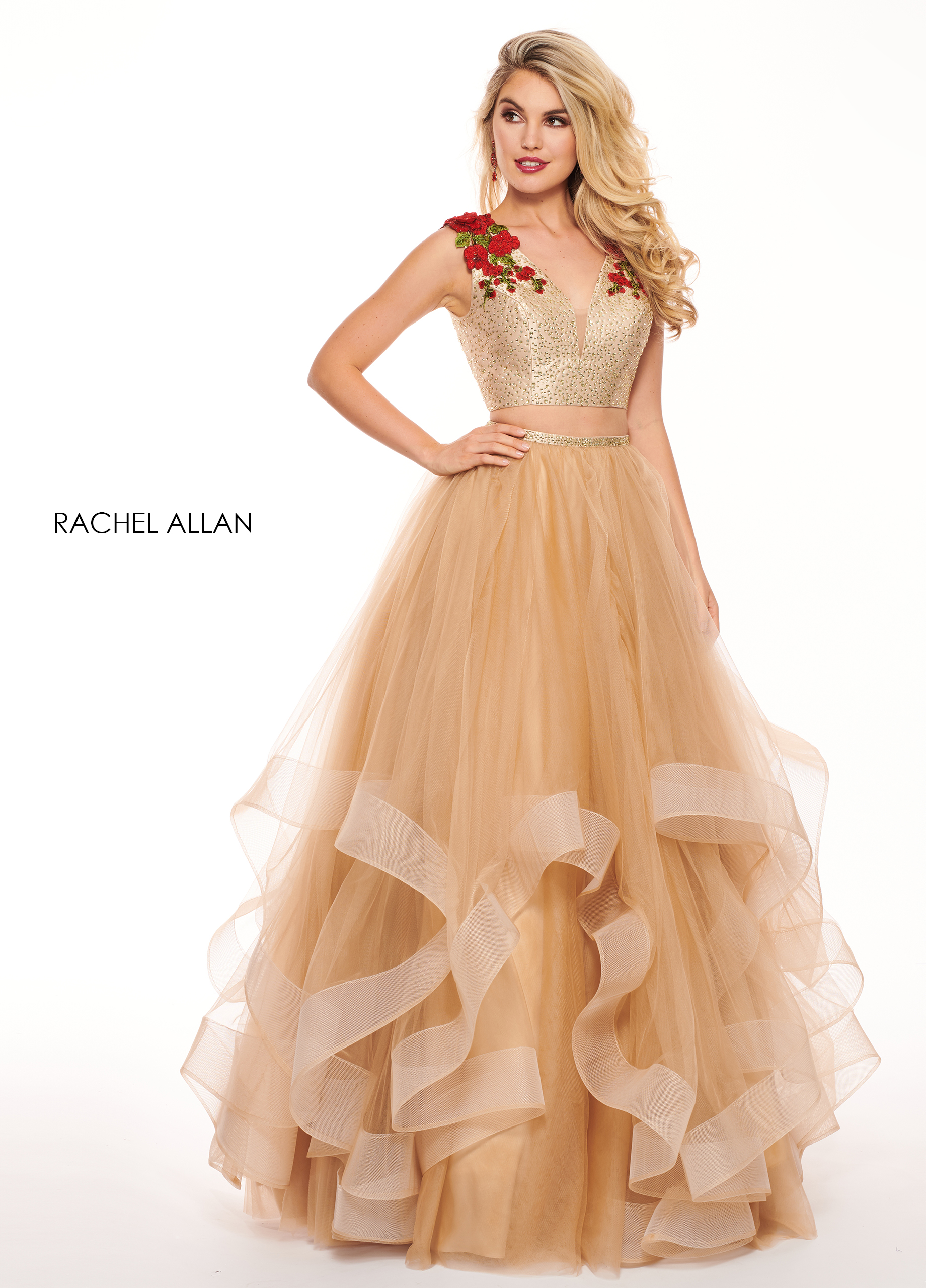 V-Neck Ball Gowns Prom Dresses in Nude Color