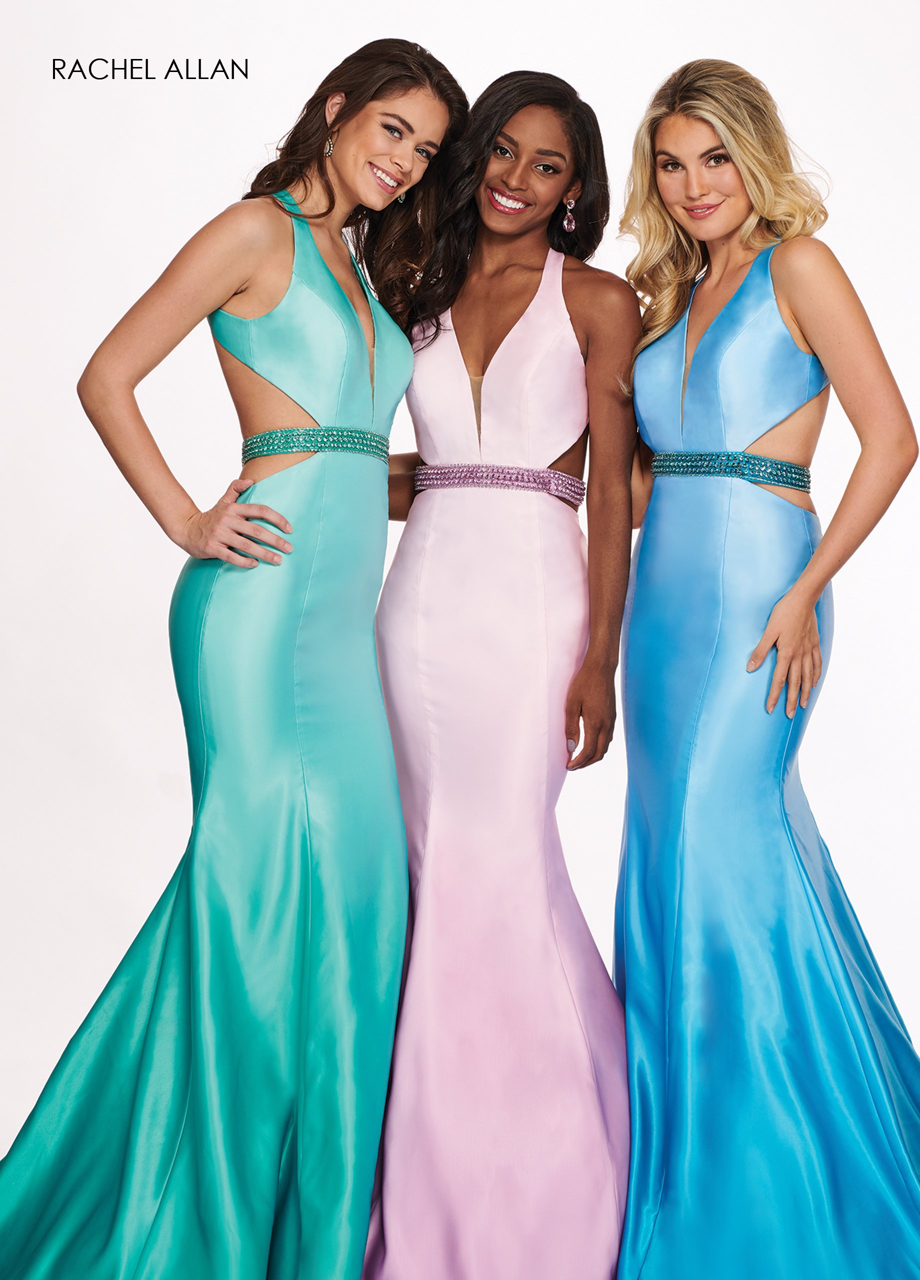 Halter Fit & Flare Prom Dresses in Mint Color