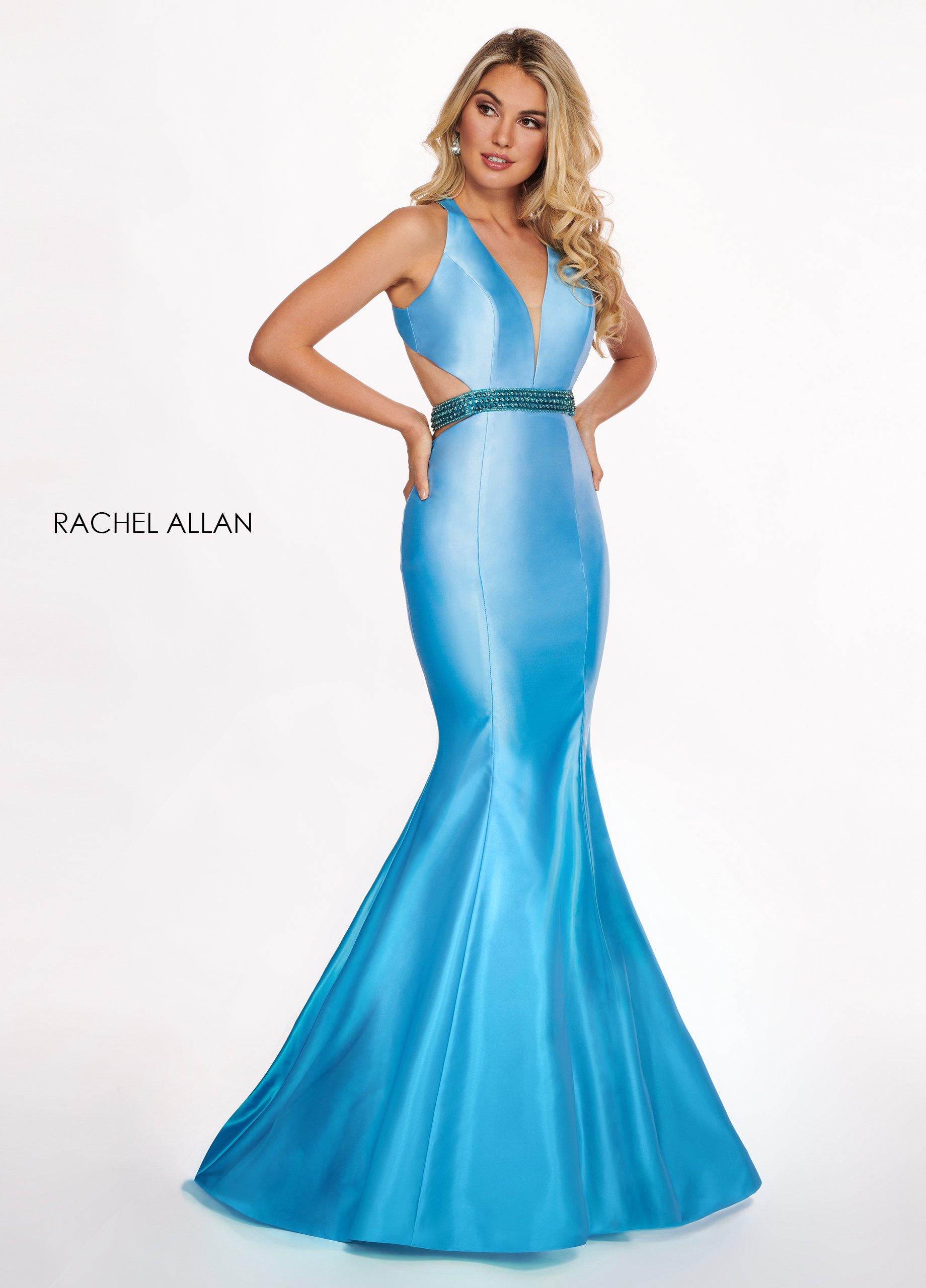 Halter Mermaid Prom Dresses in Turquoise Color