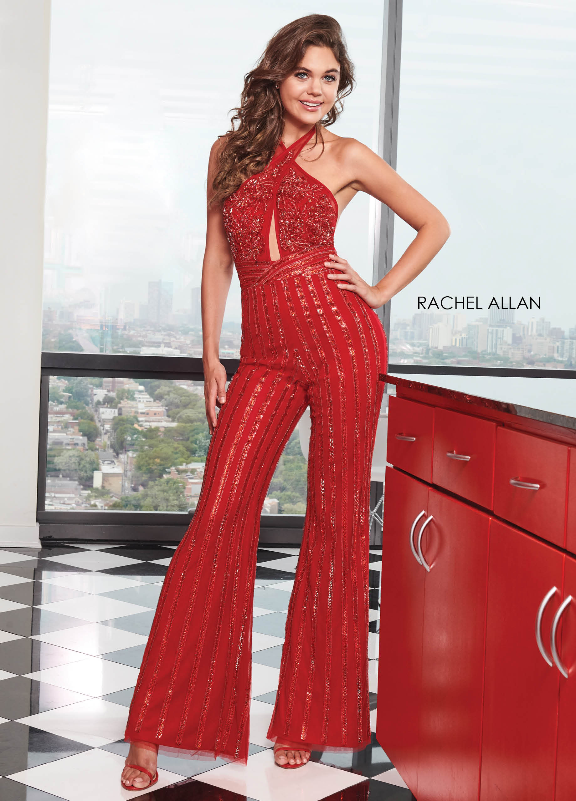 Halter Jumpsuit Prom Dresses in Red Color