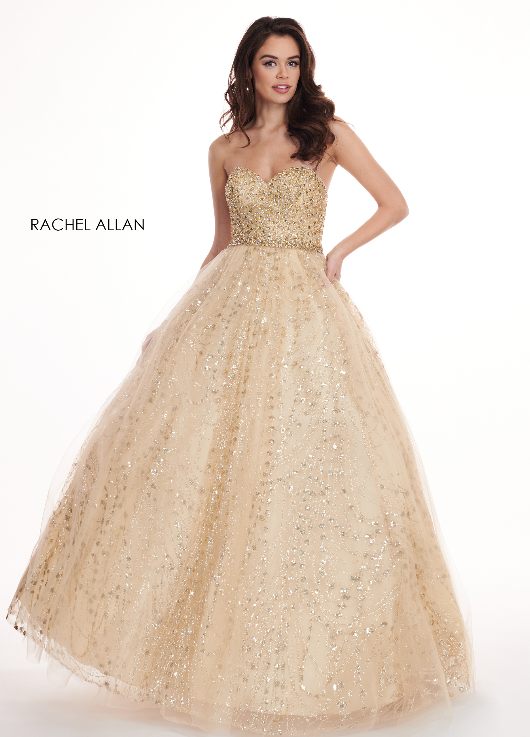 Sweetheart Ball Gowns Prom Dresses in Gold Color