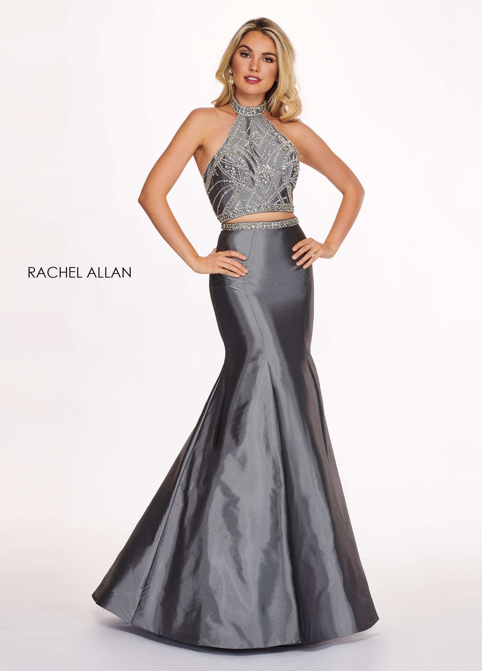 Choker Two-Piece Prom Dresses in Grey Color