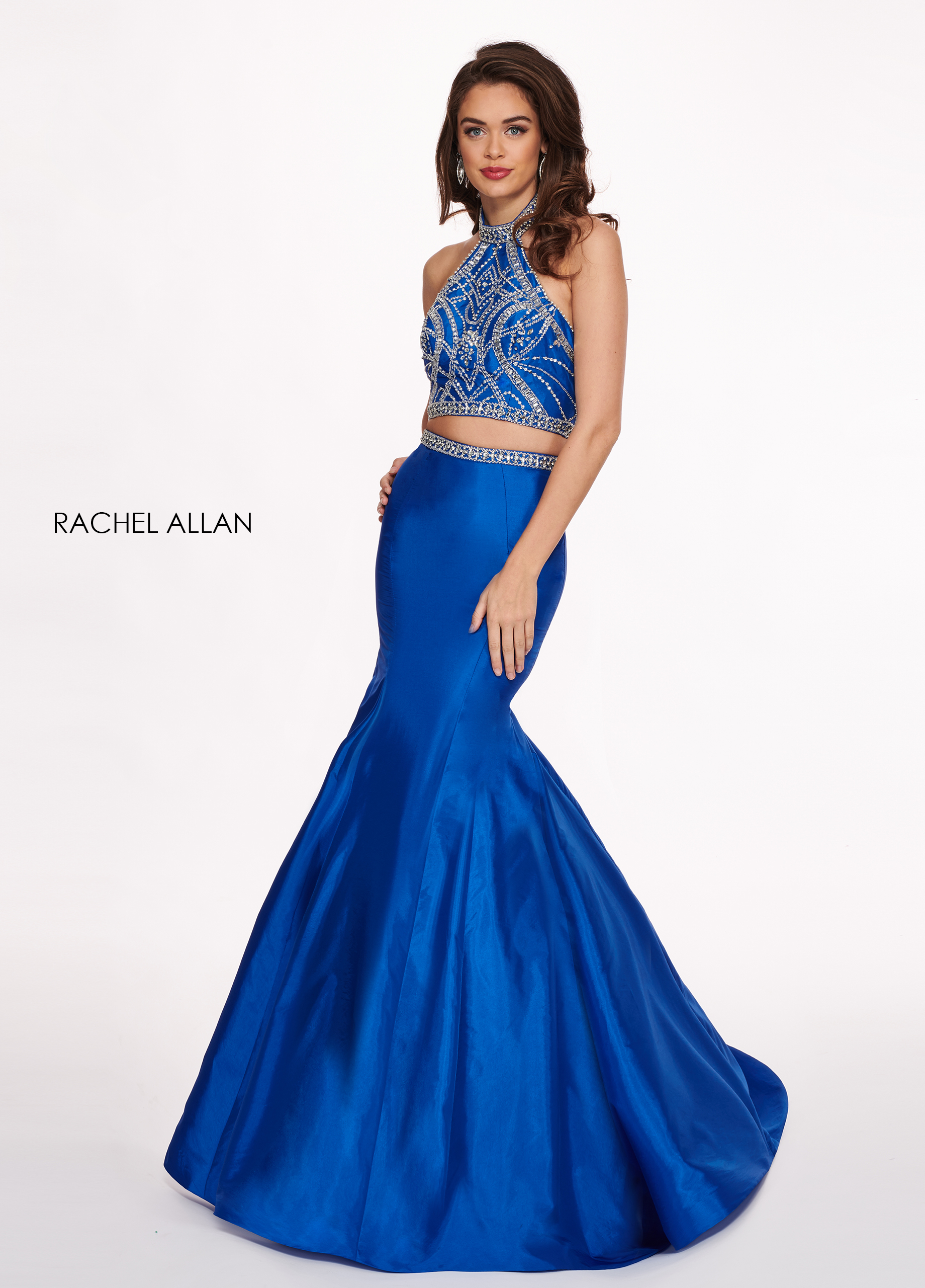 Choker Two-Piece Prom Dresses in Blue Color