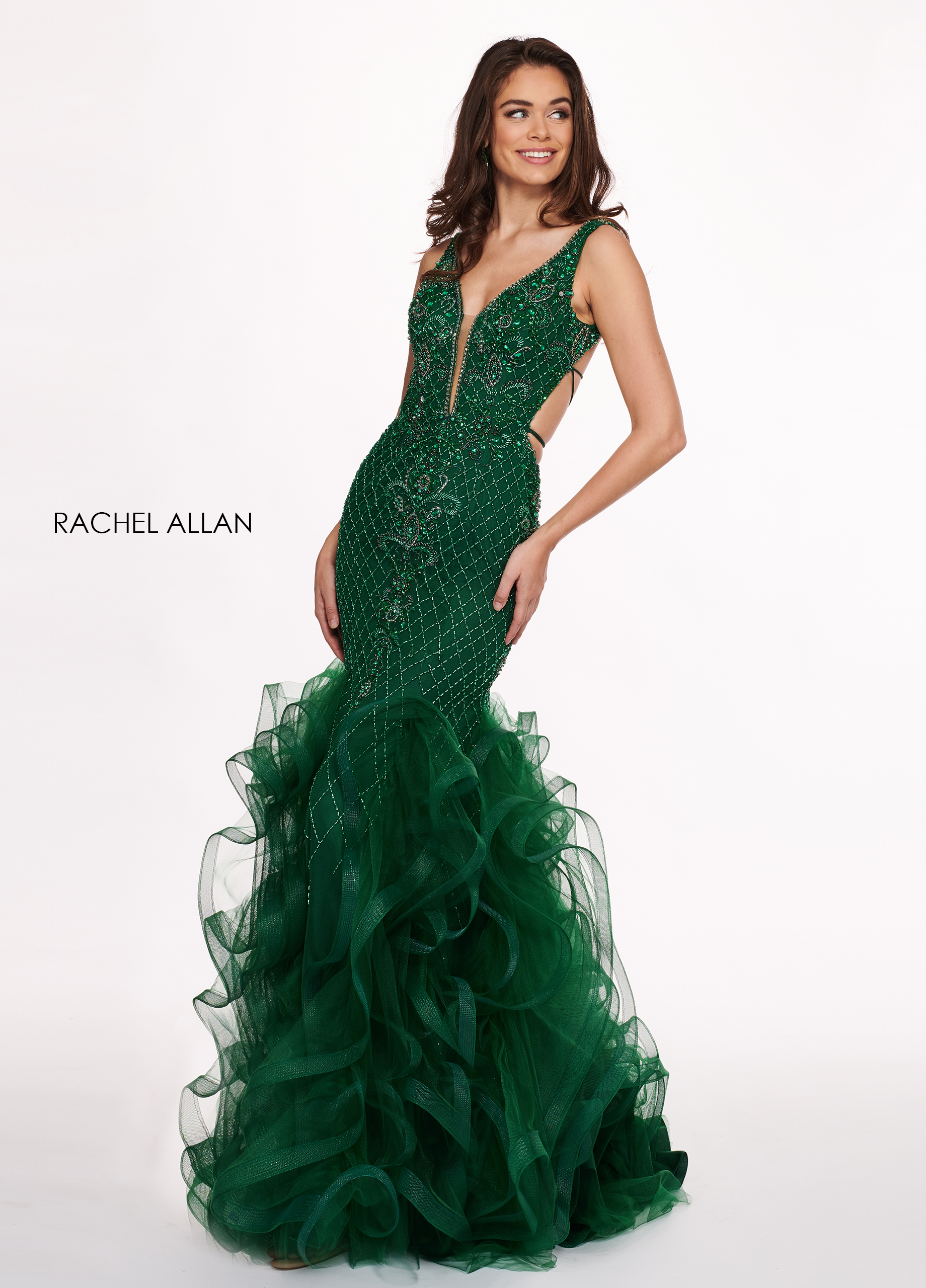 V-Neck Mermaid Prom Dresses in Emerald Color