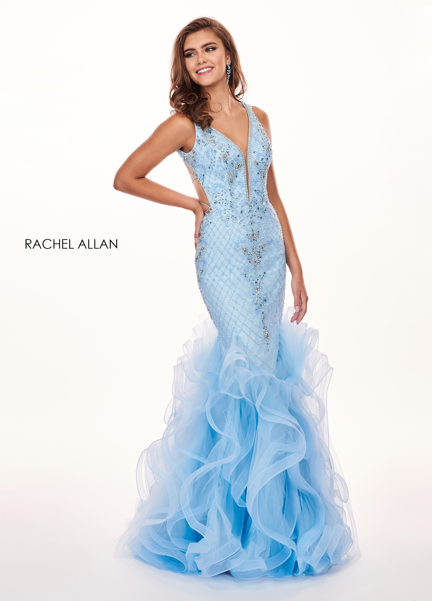V-Neck Mermaid Prom Dresses in Blue Color