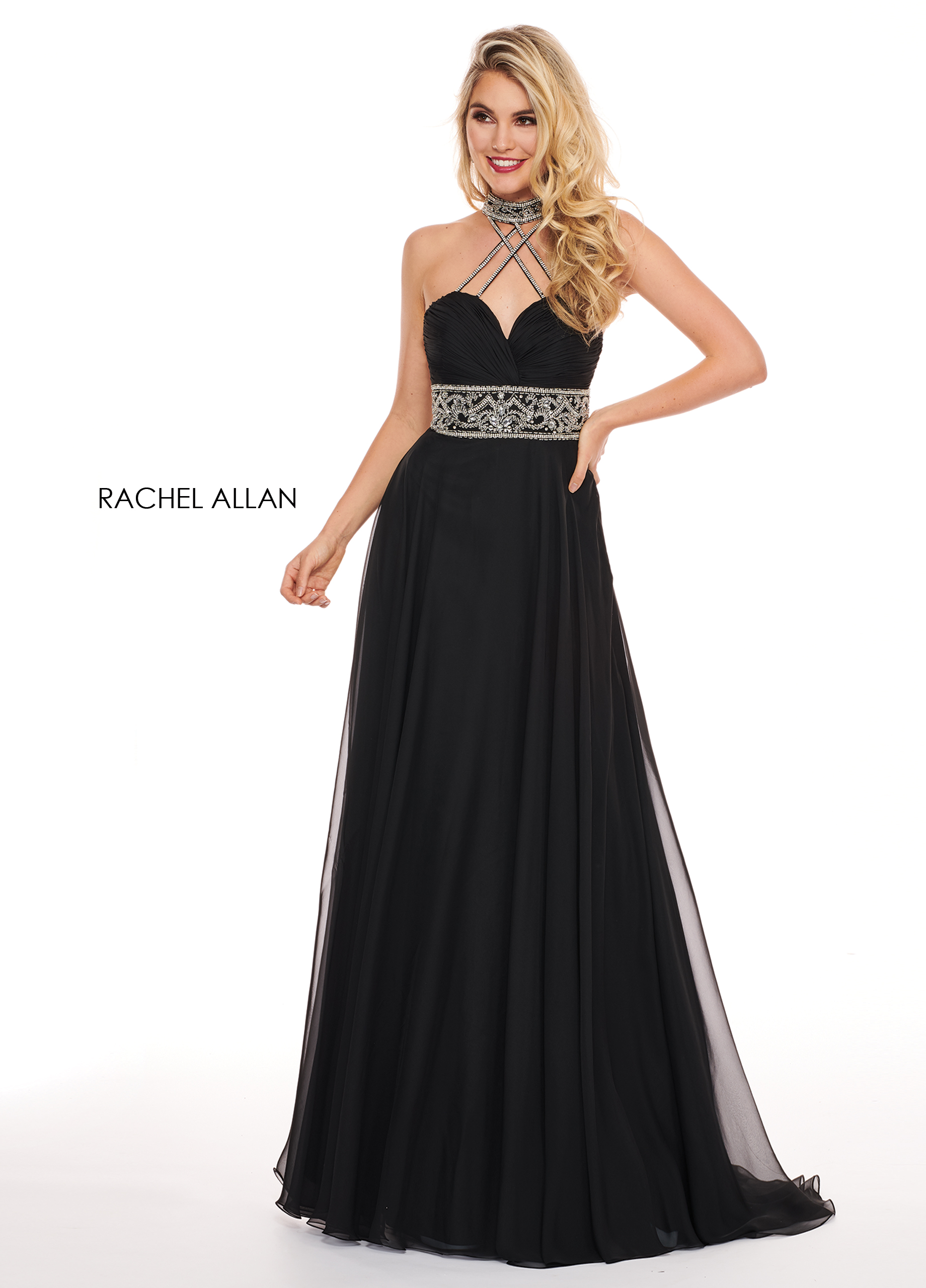 Choker A-Line Prom Dresses in Black Color
