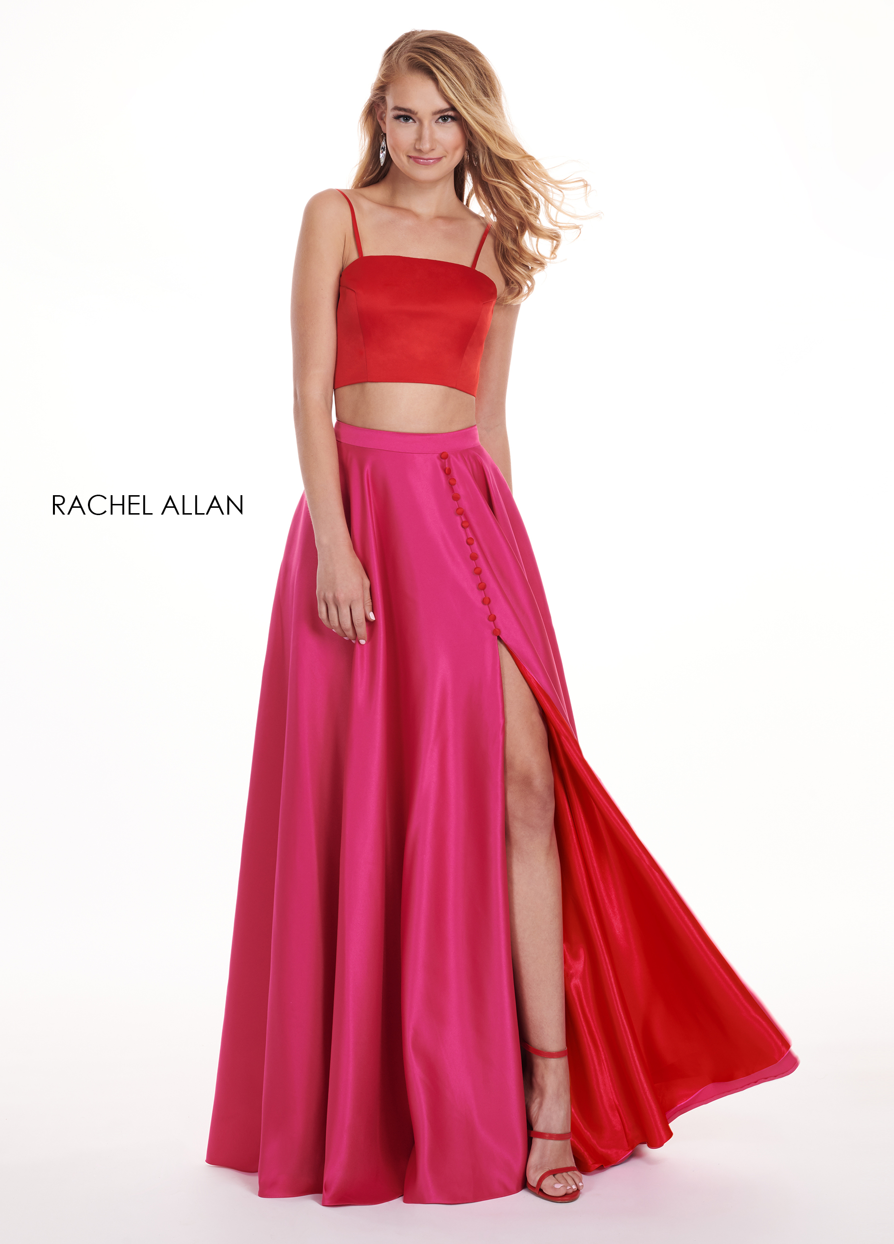 Strappy Two-Piece Prom Dresses in Red Color
