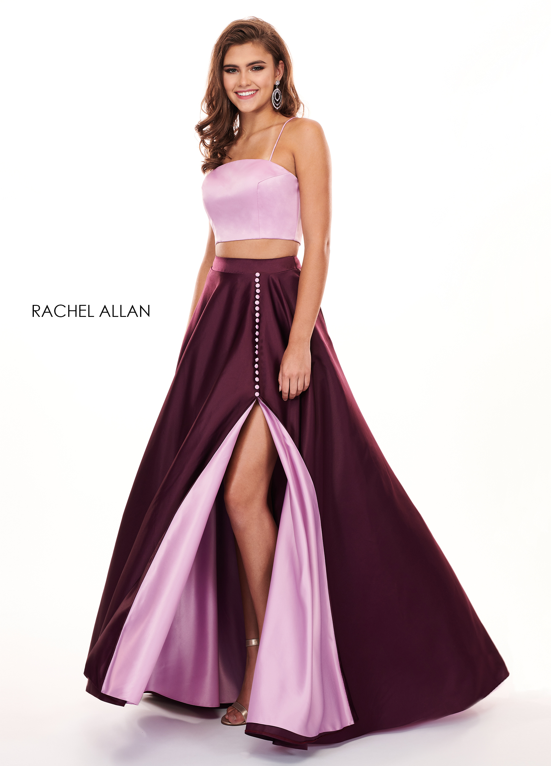 Strappy Two-Piece Prom Dresses in Purple Color
