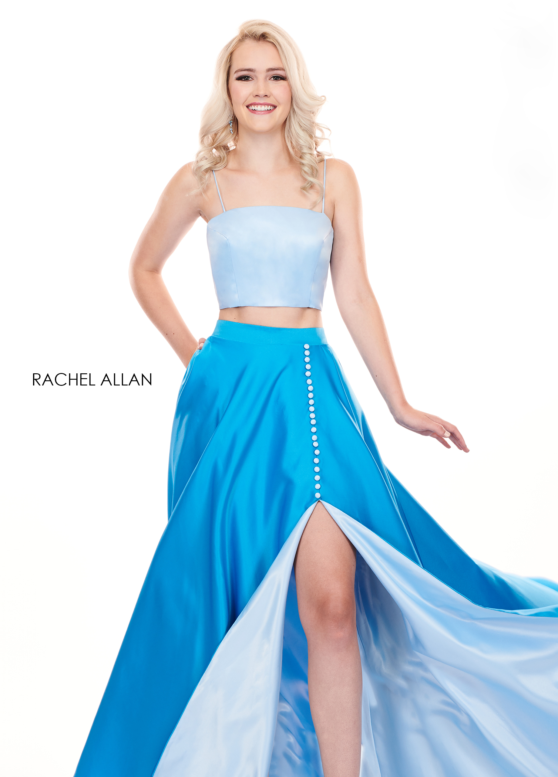 Strappy Two-Piece Prom Dresses in Blue Color