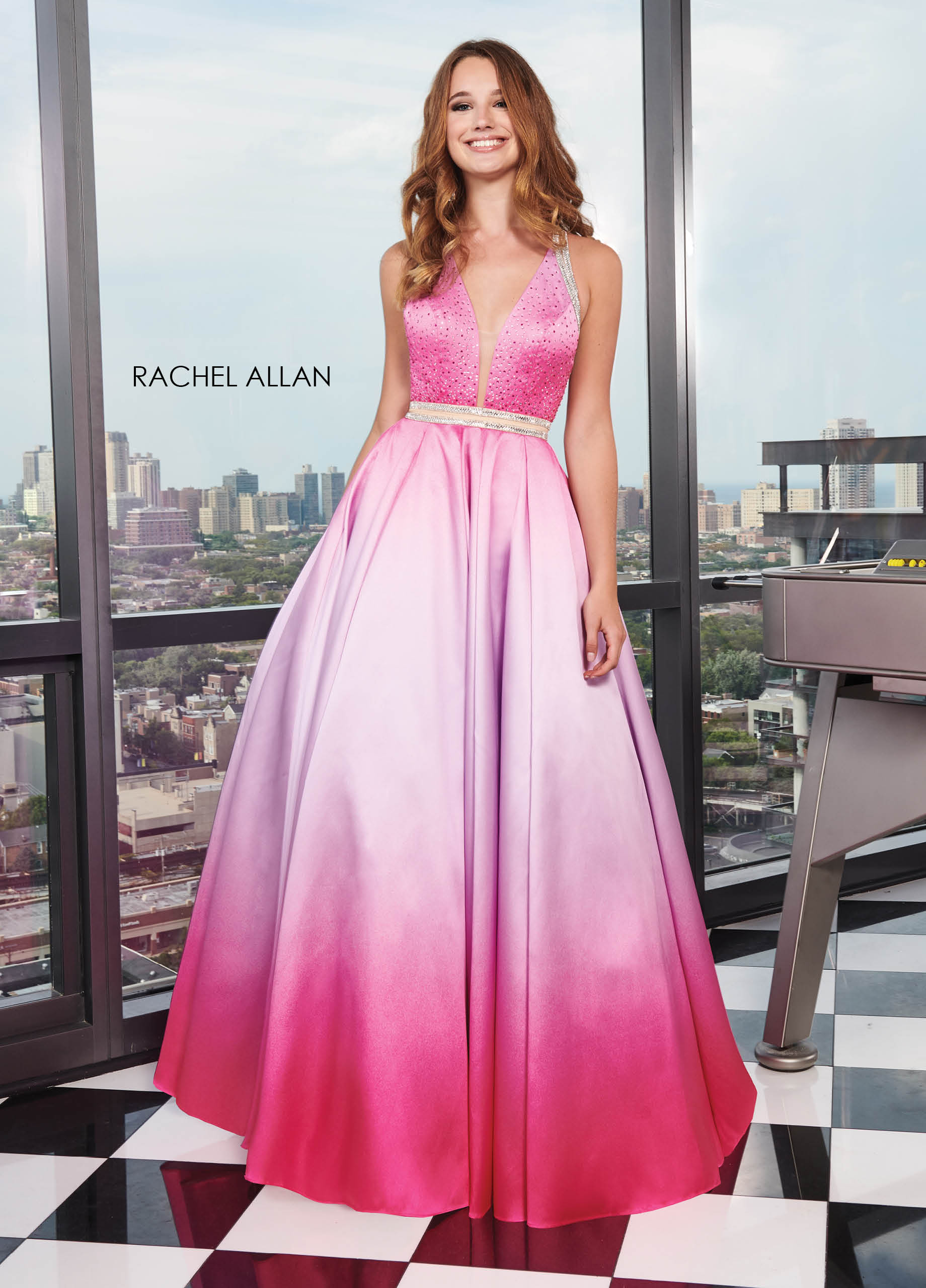 V-Neck Ball Gowns Prom Dresses in Fuchsia Color