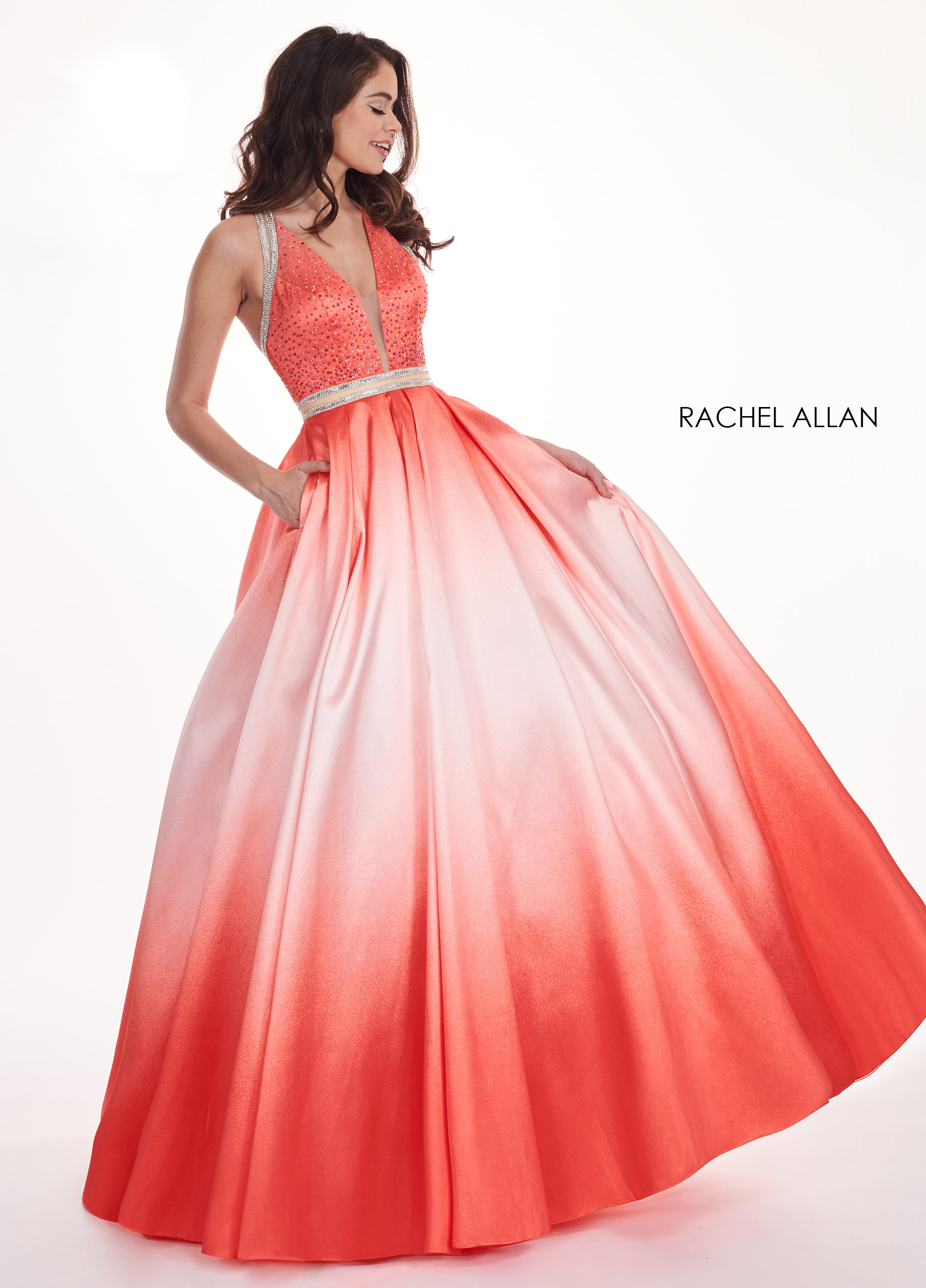 V-Neck Ball Gowns Prom Dresses in Coral Color