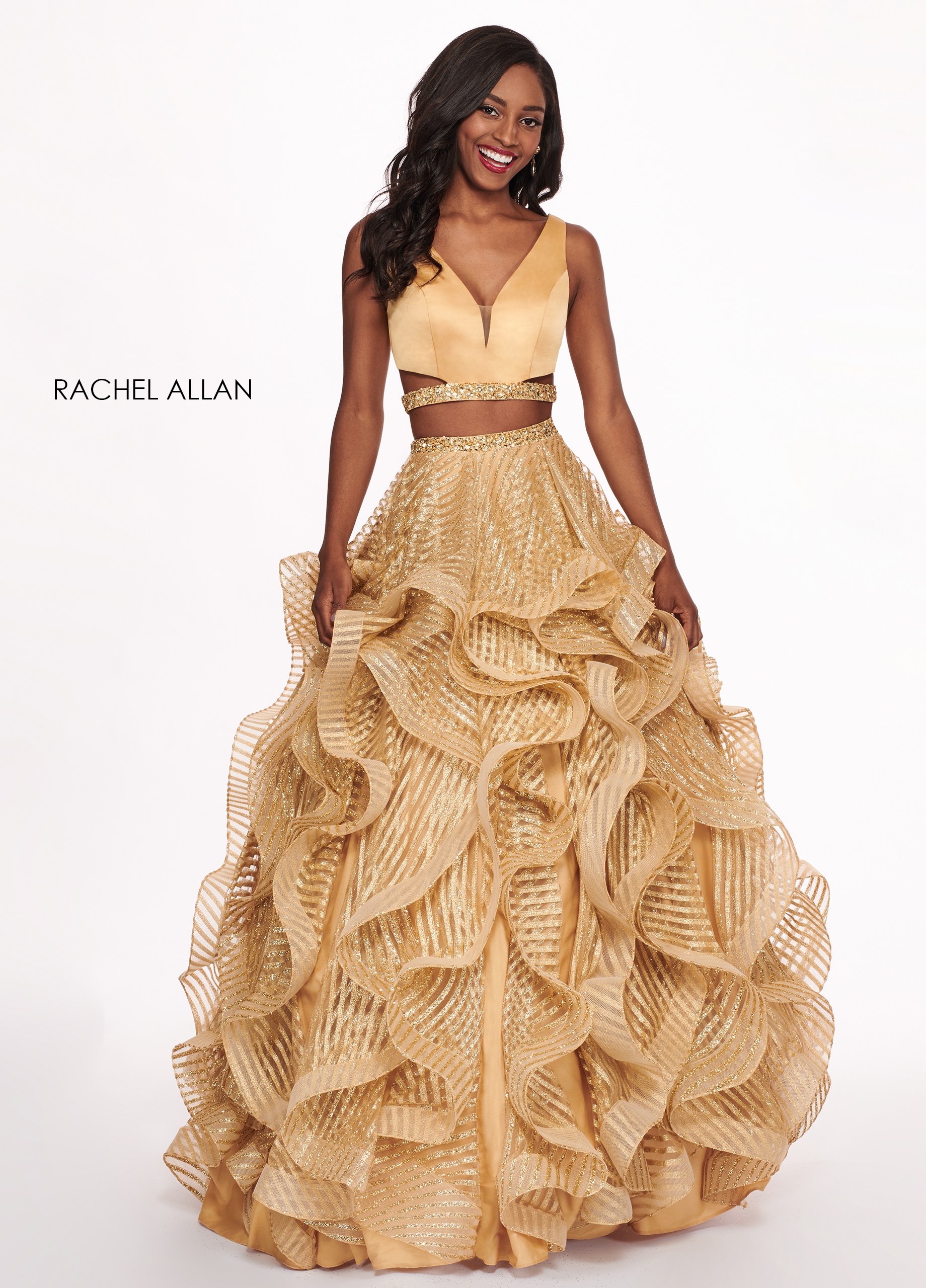 V-Neck Ball Gowns Prom Dresses in Gold Color