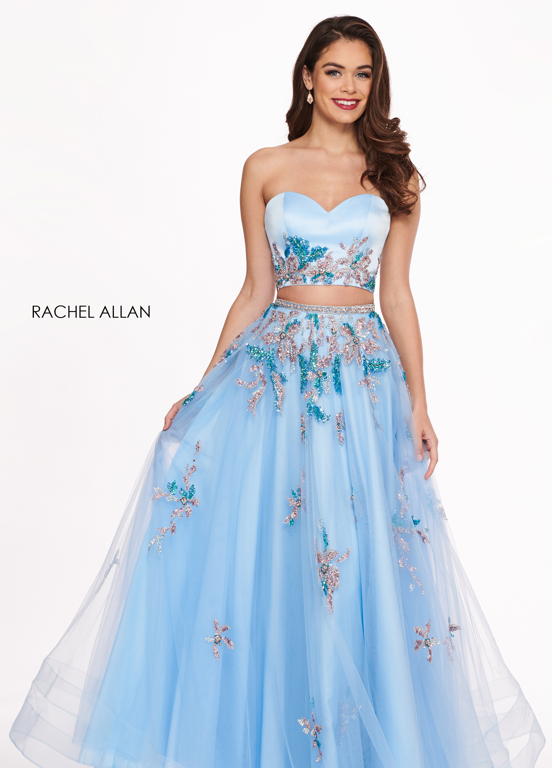 Strapless Two-Piece Prom Dresses in Blue Color