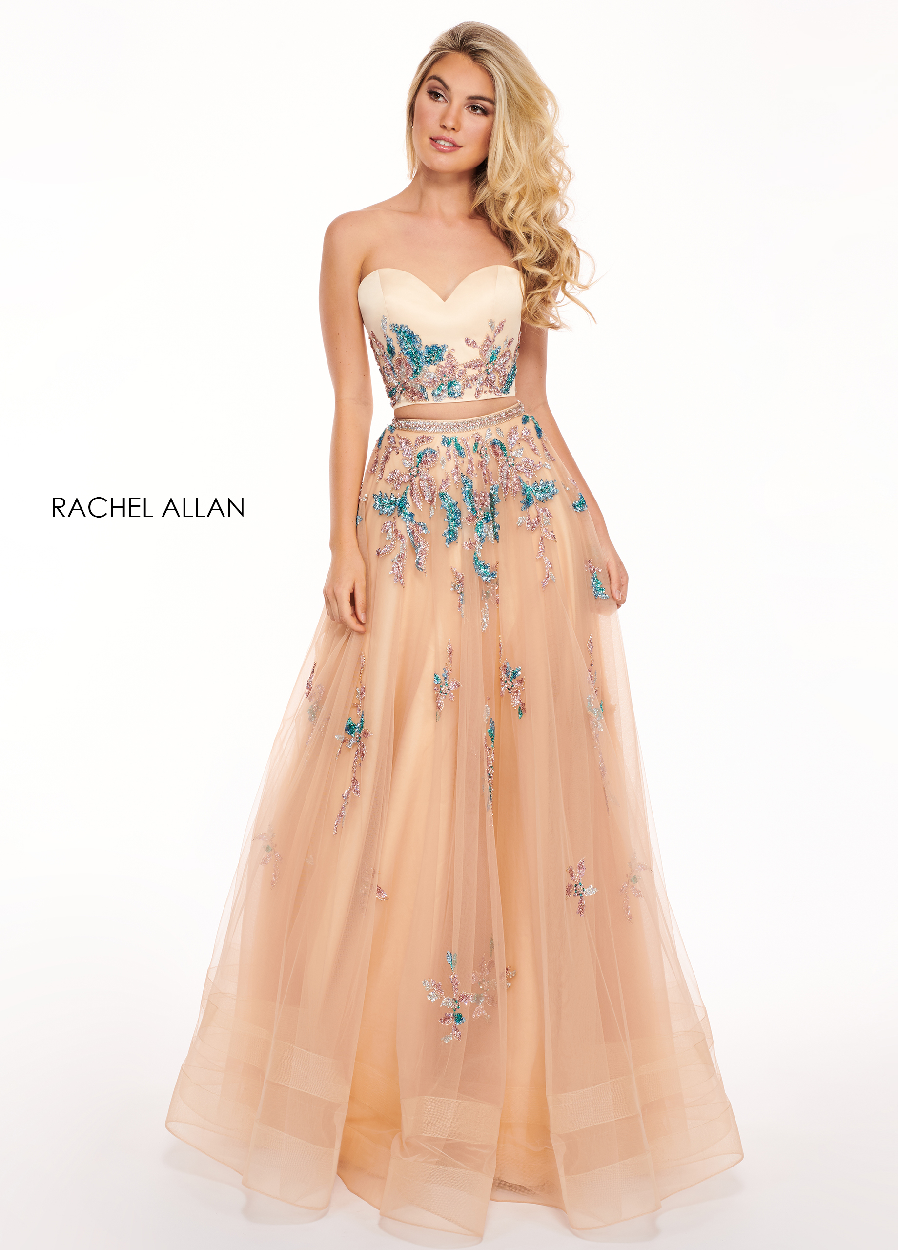 Strapless Two-Piece Prom Dresses in Nude Color